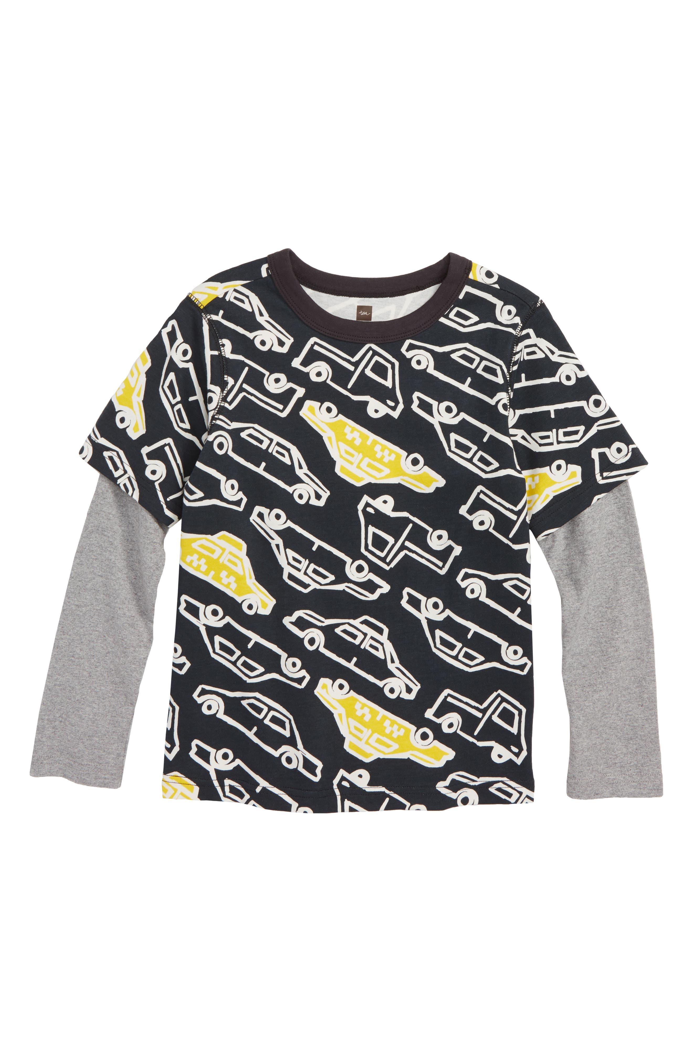TEA COLLECTION,                             Layer T-Shirt,                             Main thumbnail 1, color,                             001