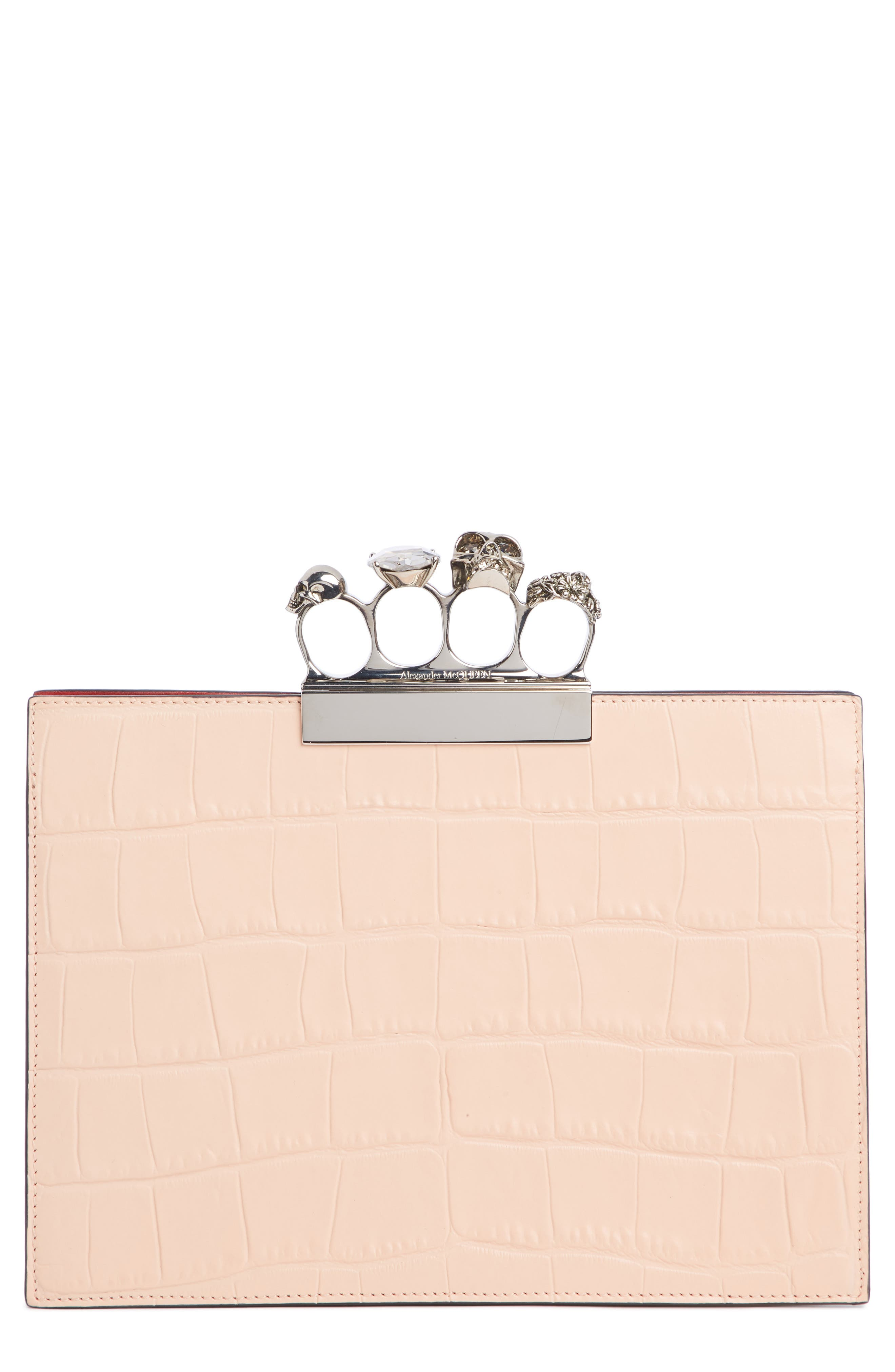 Croc Embossed Leather Knuckle Clutch,                             Main thumbnail 1, color,                             COLURIE/ IVORY