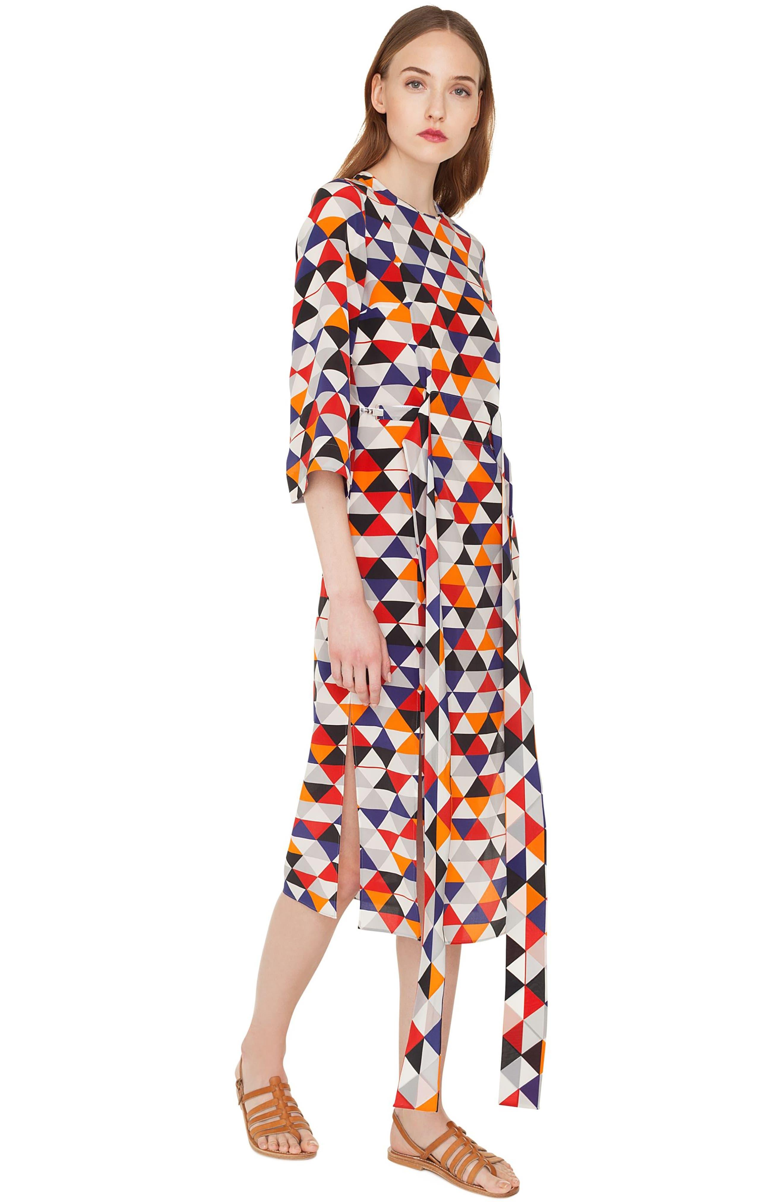 Diamond Print Silk Crepe Dress,                             Alternate thumbnail 3, color,                             MULTICOLOR