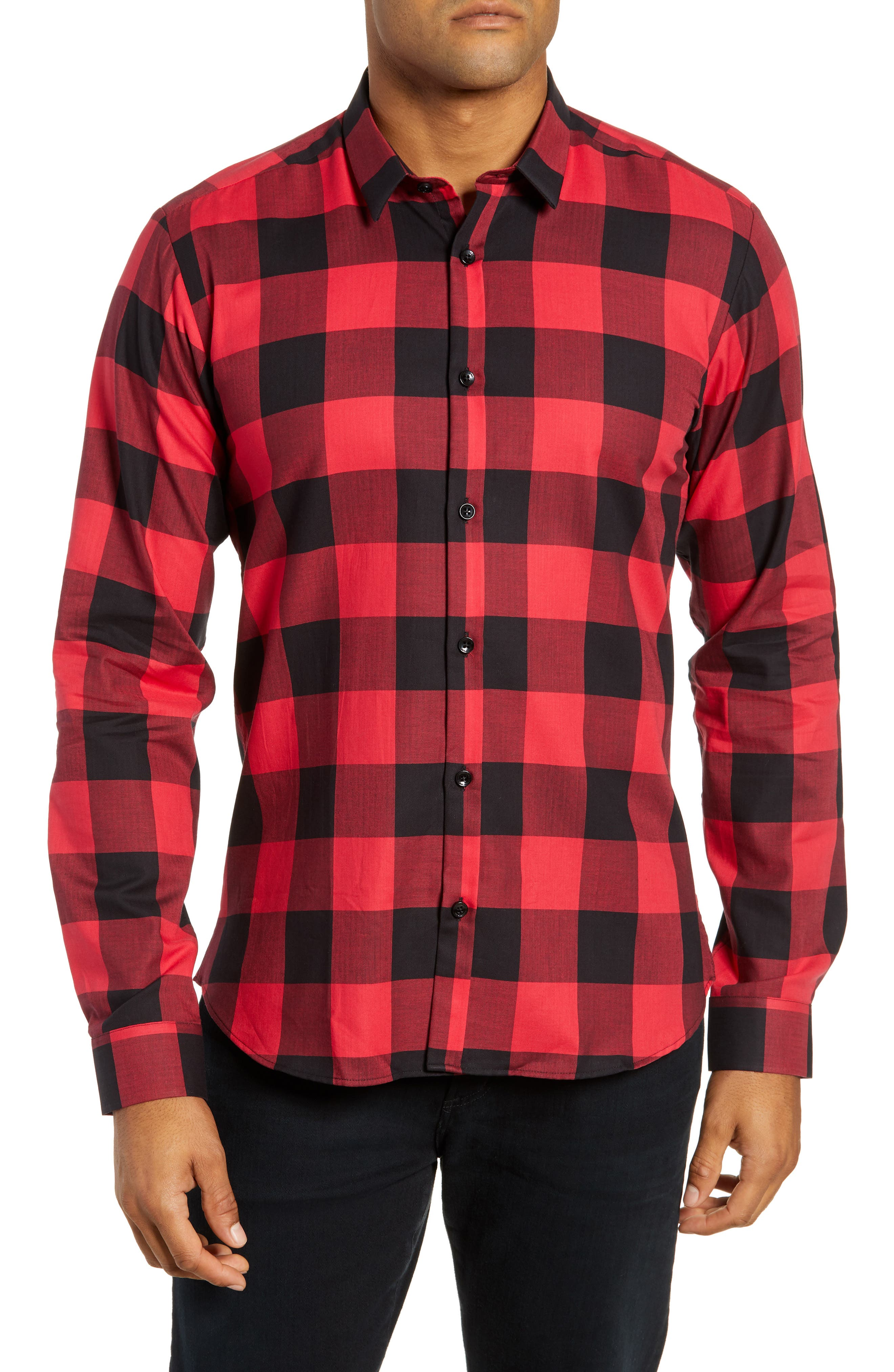 Trim Fit Buffalo Check Sport Shirt,                         Main,                         color, RED / BLACK LARGE CHECK