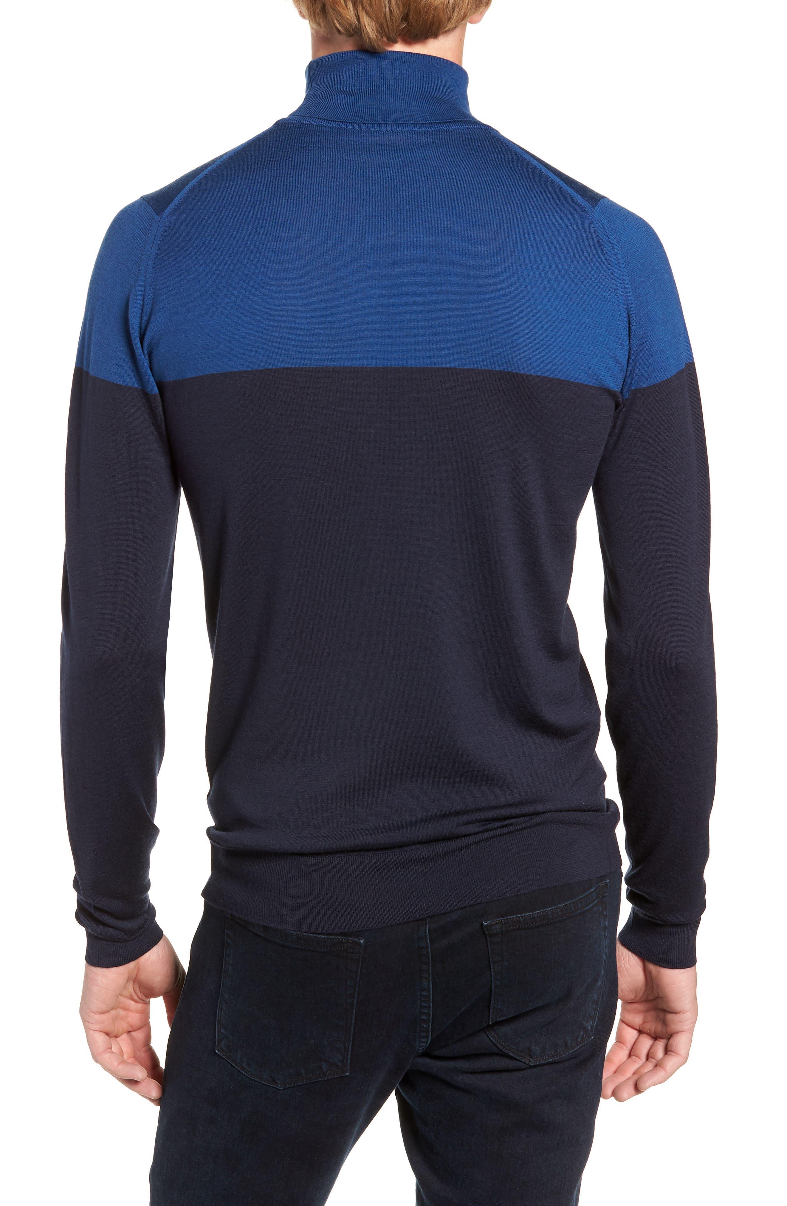 Slim Fit Colorblock Merino Wool Turtleneck Sweater,                             Alternate thumbnail 2, color,                             MIDNIGHT