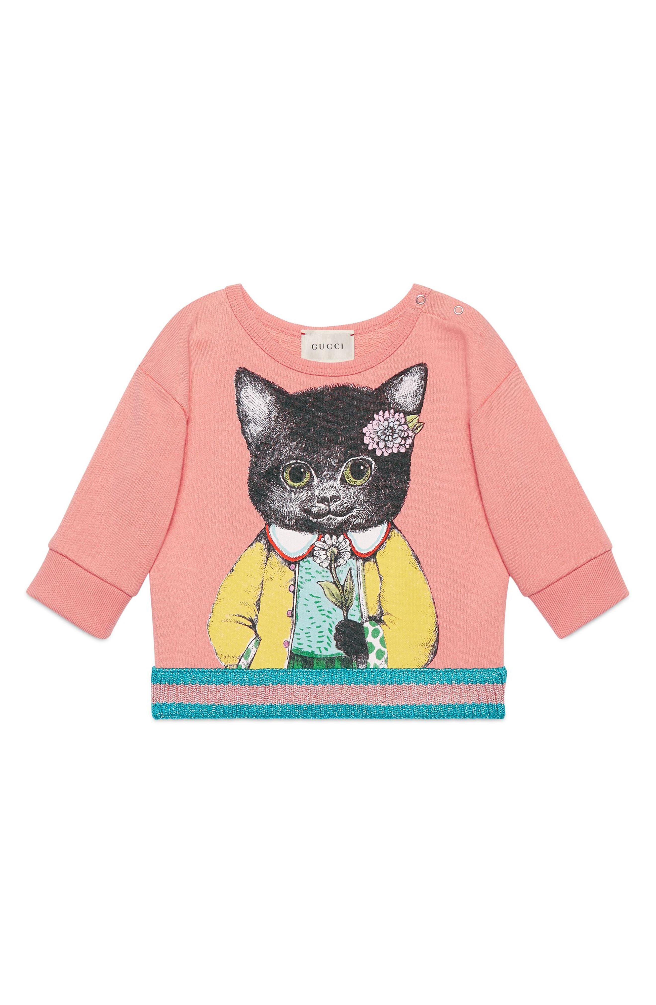 Kitten Graphic Cotton Sweatshirt,                             Main thumbnail 1, color,                             662