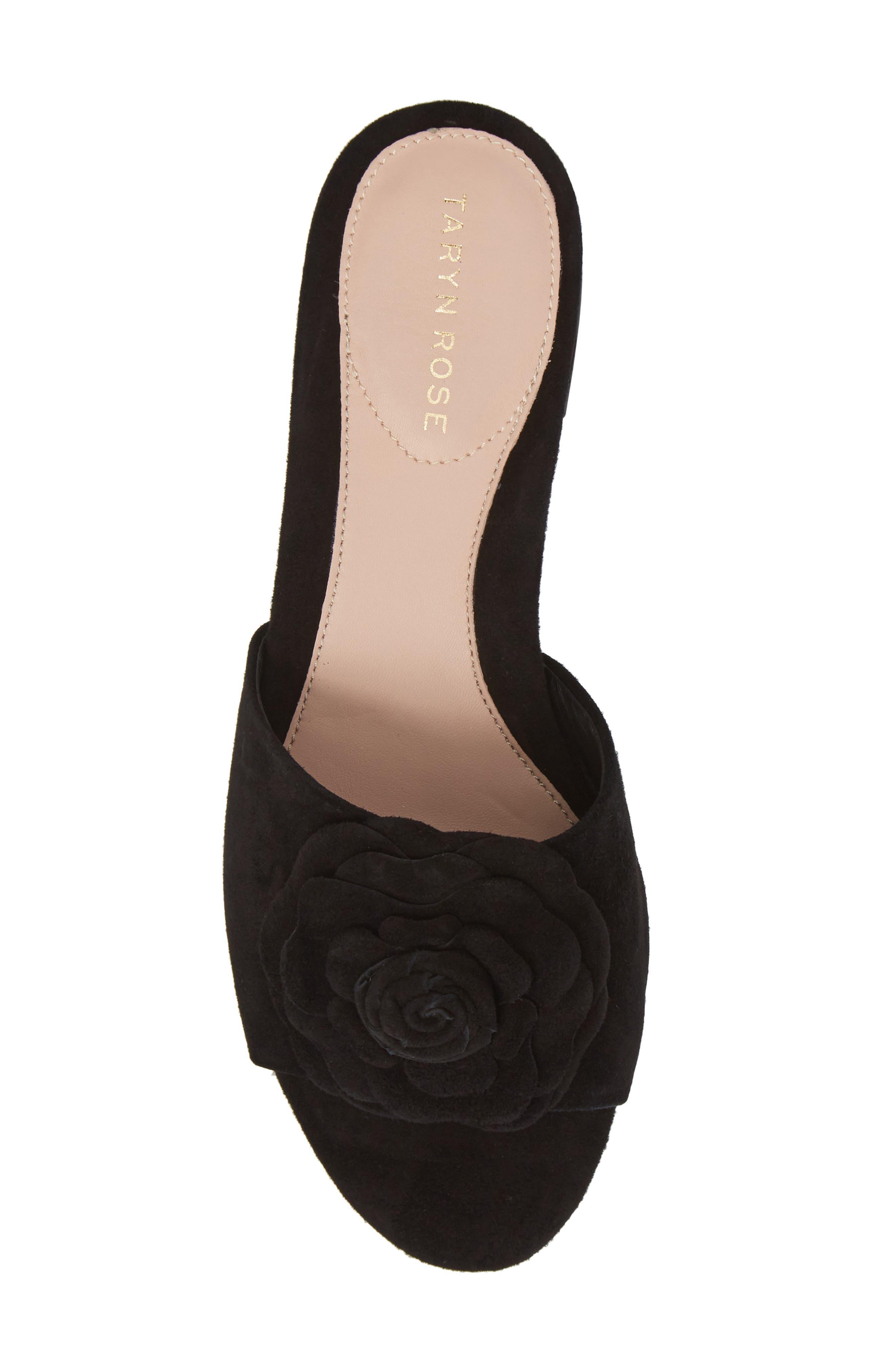 Violet Flower Slide Sandal,                             Alternate thumbnail 5, color,                             BLACK SUEDE