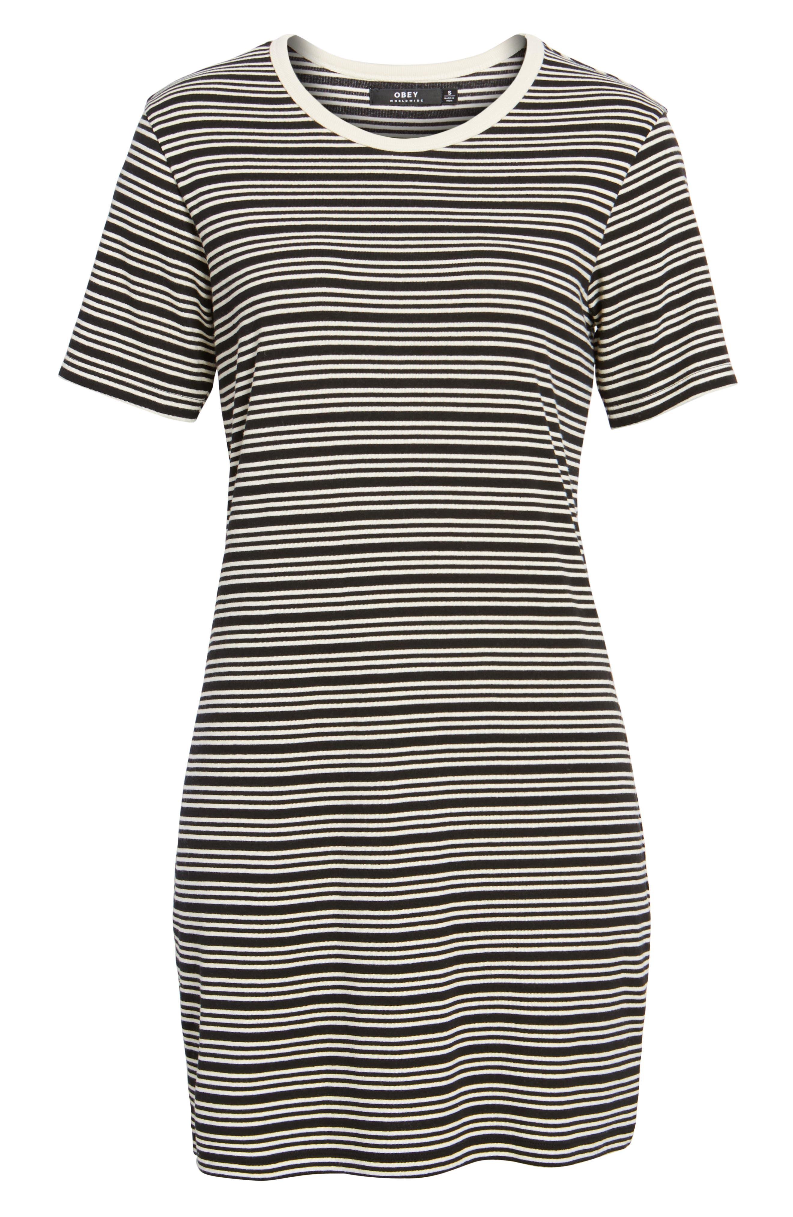 Freya Stripe T-Shirt Dress,                             Alternate thumbnail 6, color,
