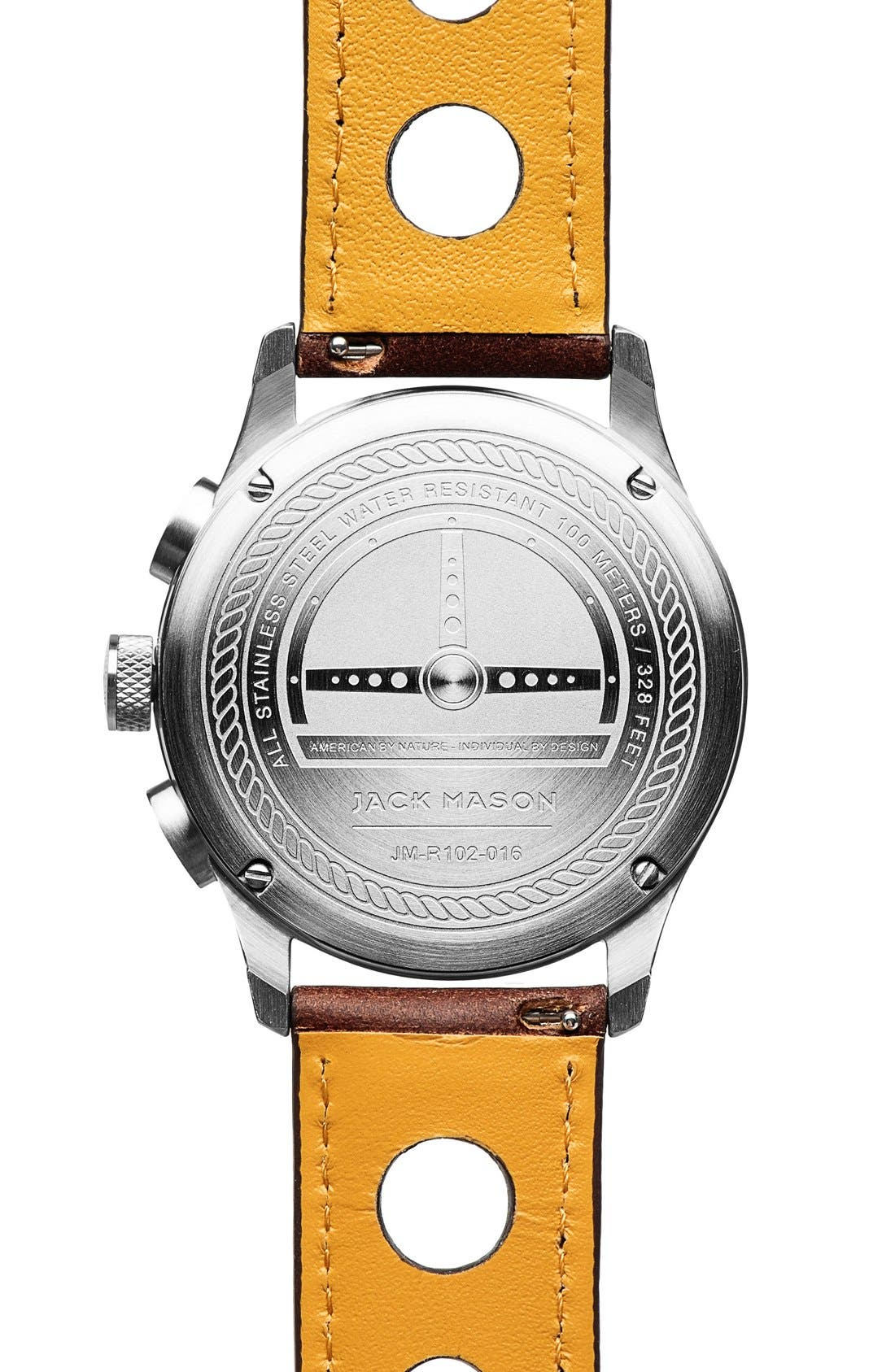 JACK MASON,                             Racing Chronograph Leather Strap Watch, 42mm case,                             Alternate thumbnail 2, color,                             200