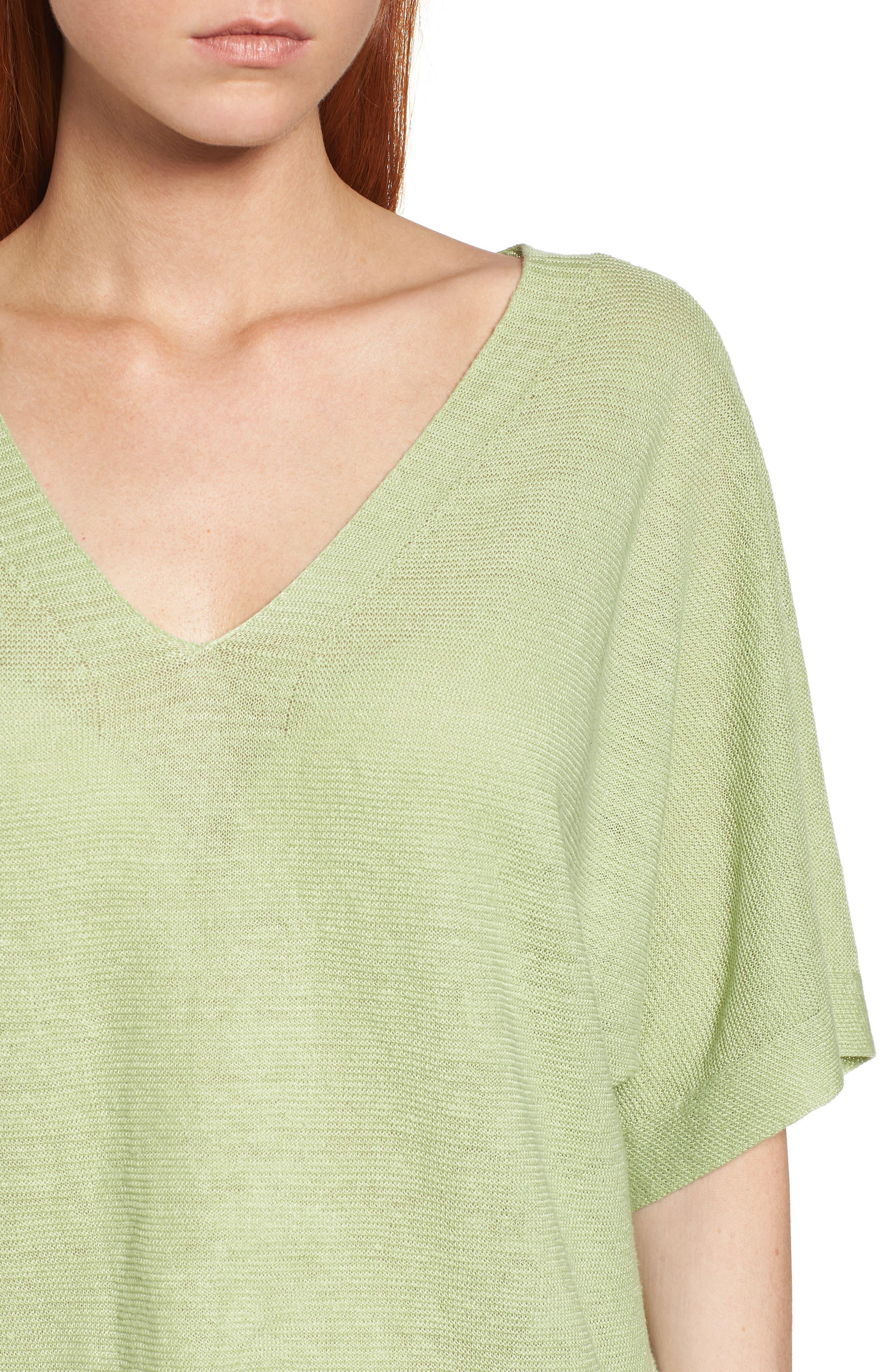 V-Neck Organic Linen Top,                             Alternate thumbnail 23, color,