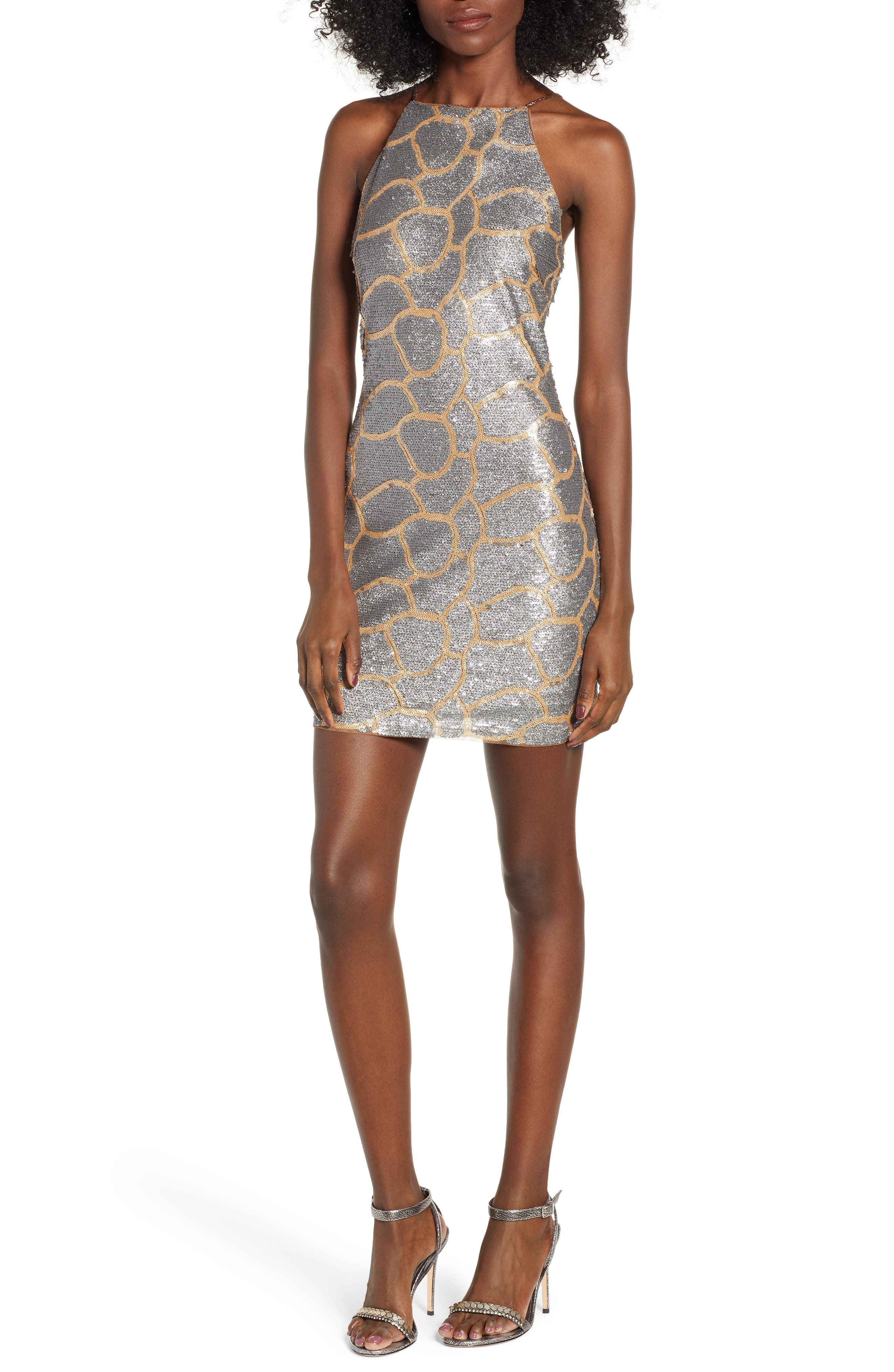 Sequin Minidress,                         Main,                         color, GOLD/ SILVER