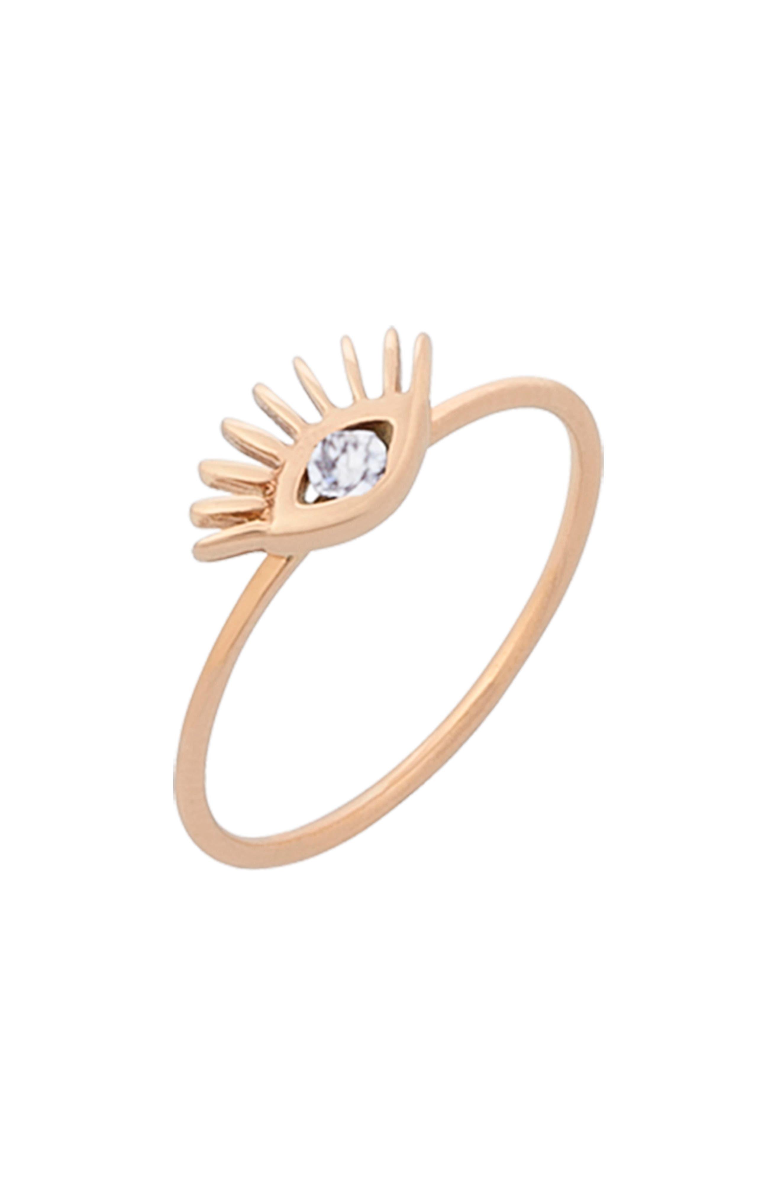 Diamond Evil Eye Ring,                             Alternate thumbnail 3, color,                             ROSE GOLD
