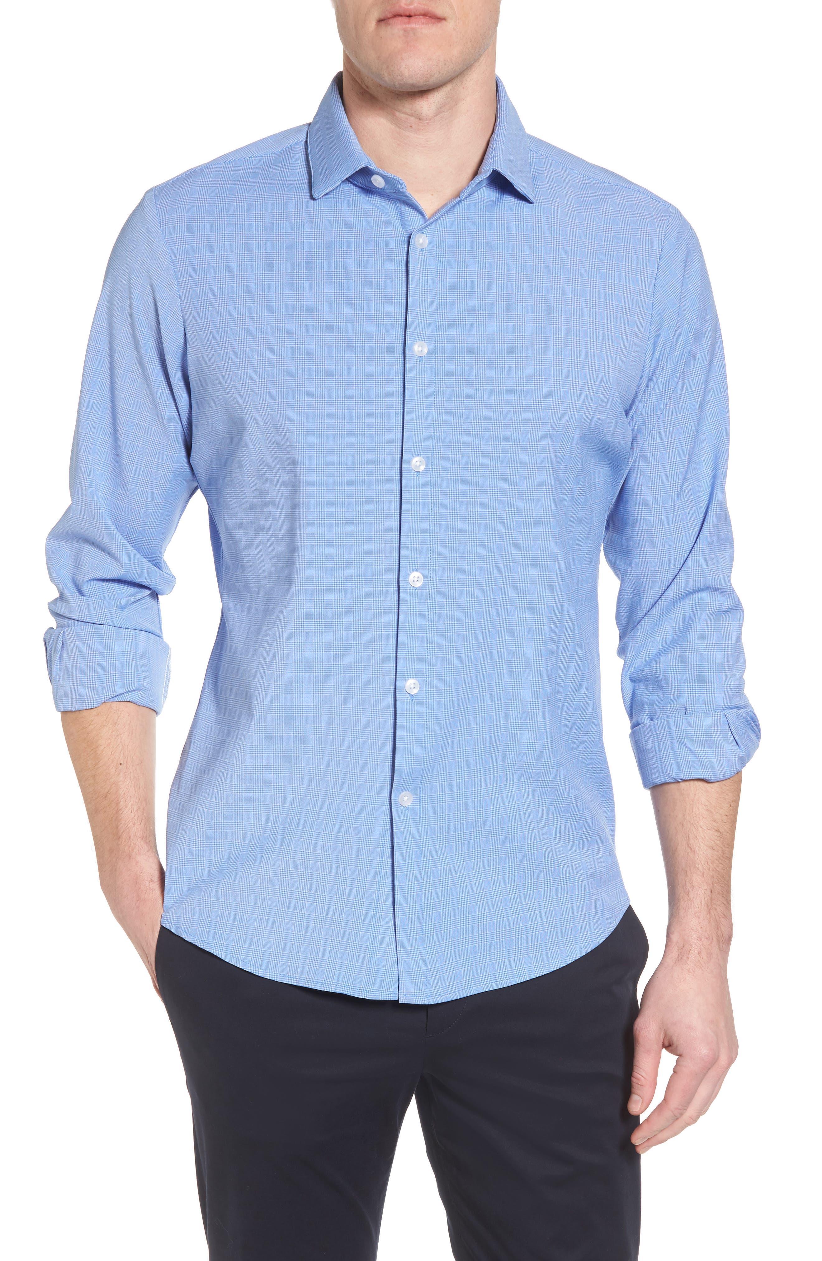 Maverick Slim Fit Plaid Sport Shirt,                             Main thumbnail 1, color,                             BLUE