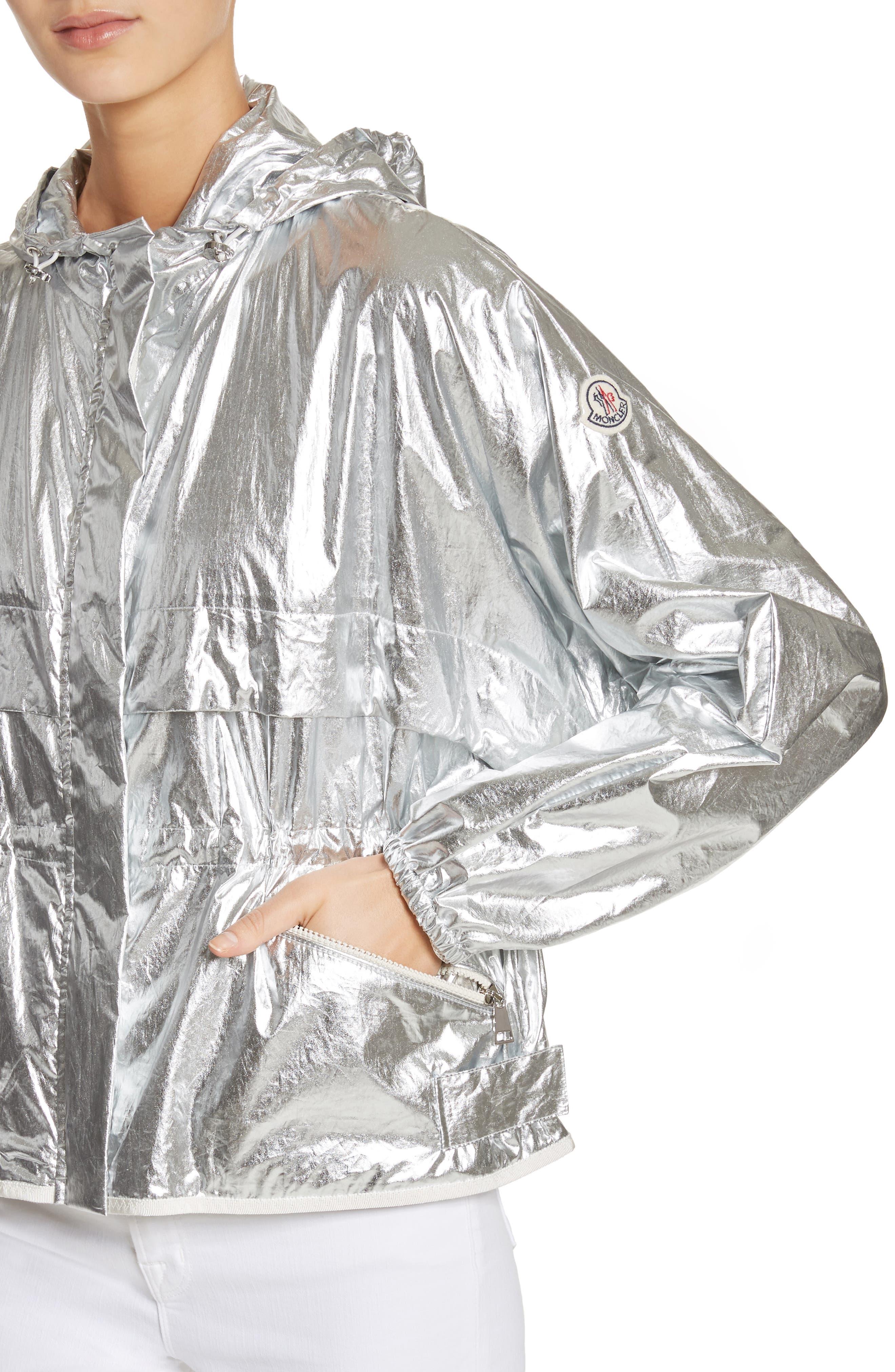Jais Metallic Hooded Raincoat,                             Alternate thumbnail 4, color,