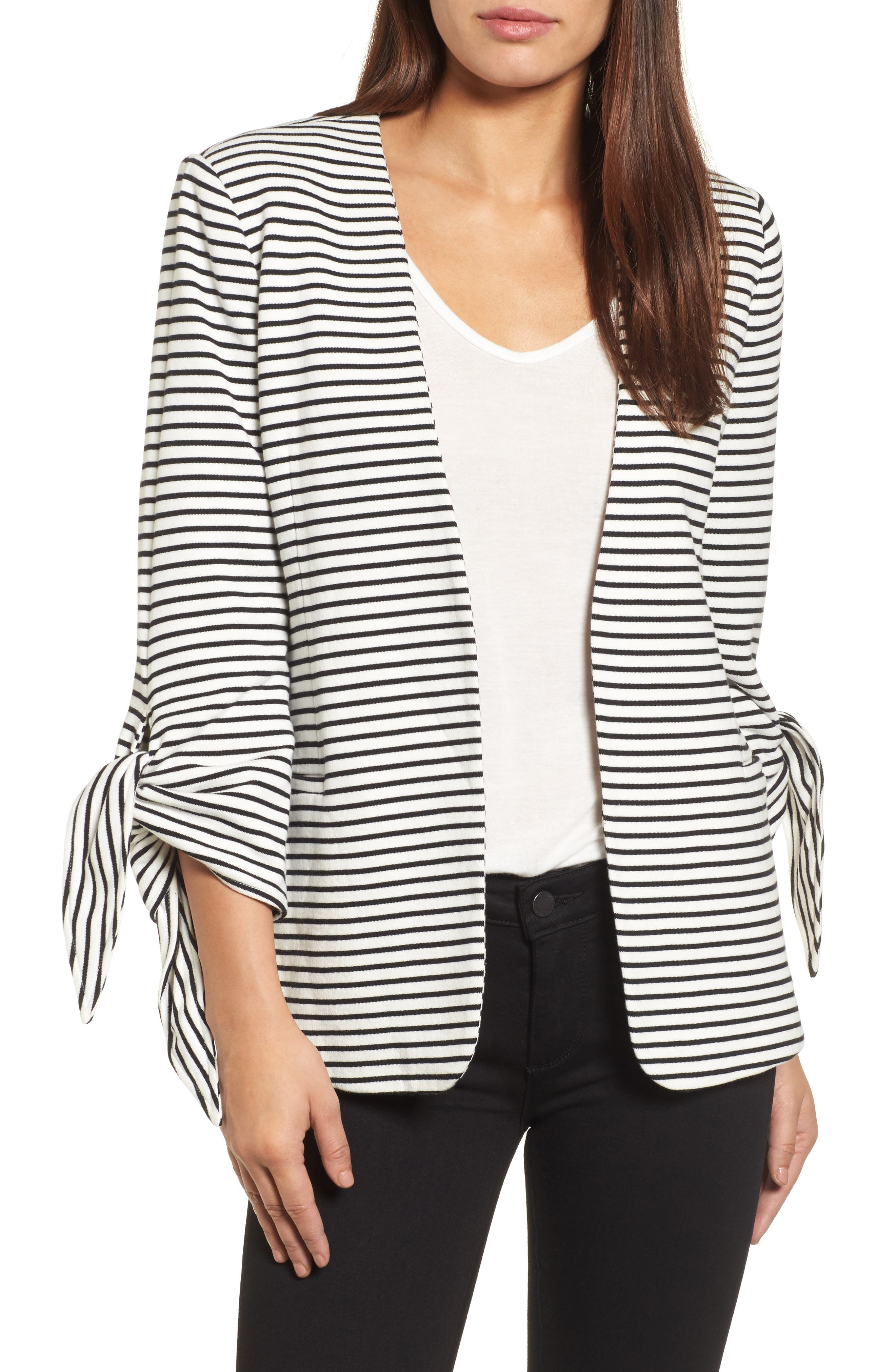 Tie Sleeve Knit Blazer,                         Main,                         color, 008