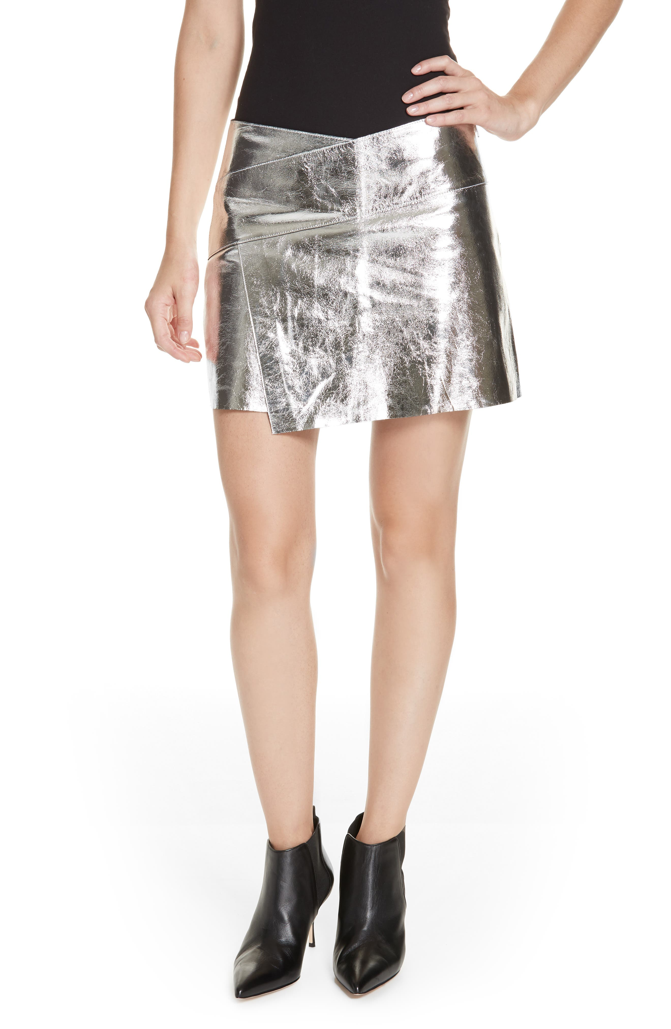 Mania Metallic Leather Skirt,                         Main,                         color, GREY