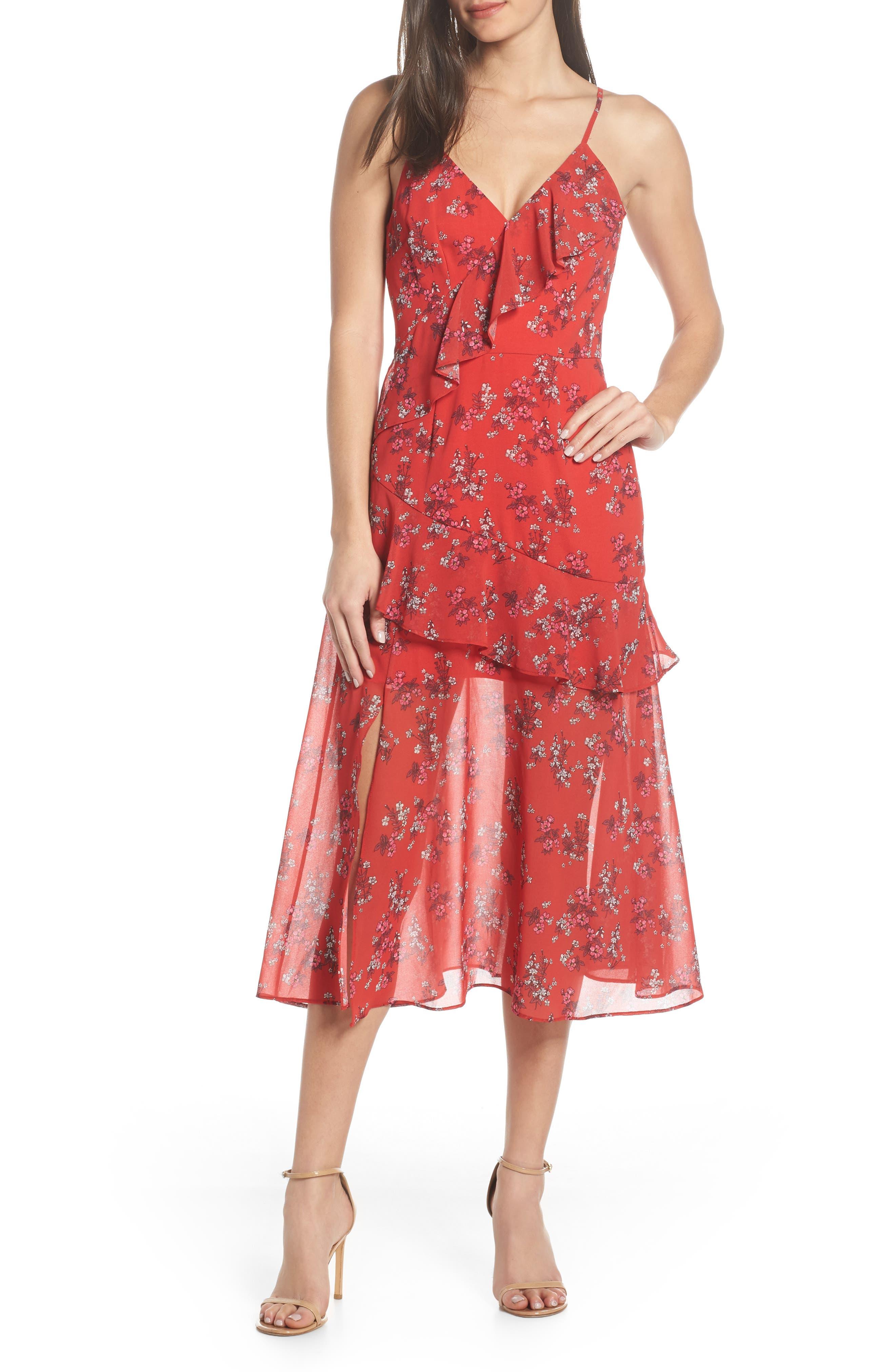 Keepsake The Label Heart & Soul Ruffle Detail Tea Length Dress, Red