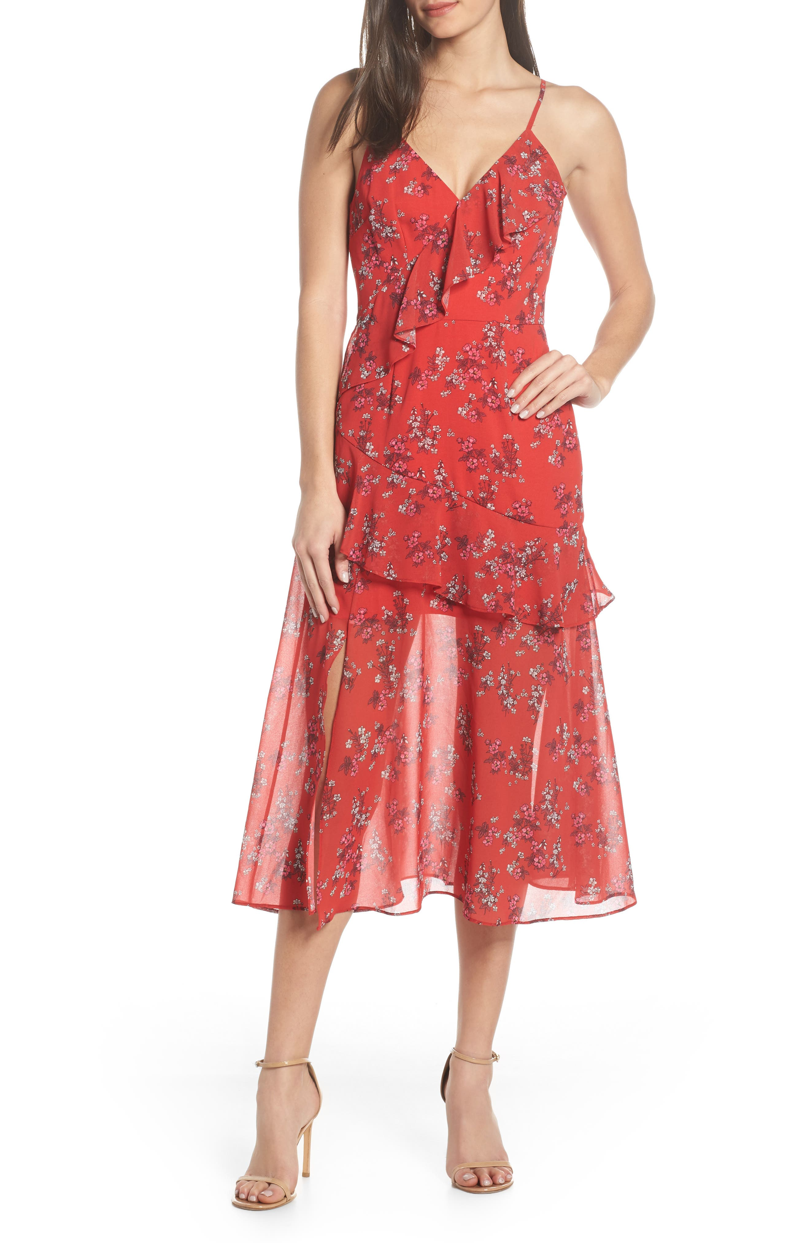 KEEPSAKE THE LABEL Heart & Soul Ruffle Detail Tea Length Dress, Main, color, SMALL RED FLORAL