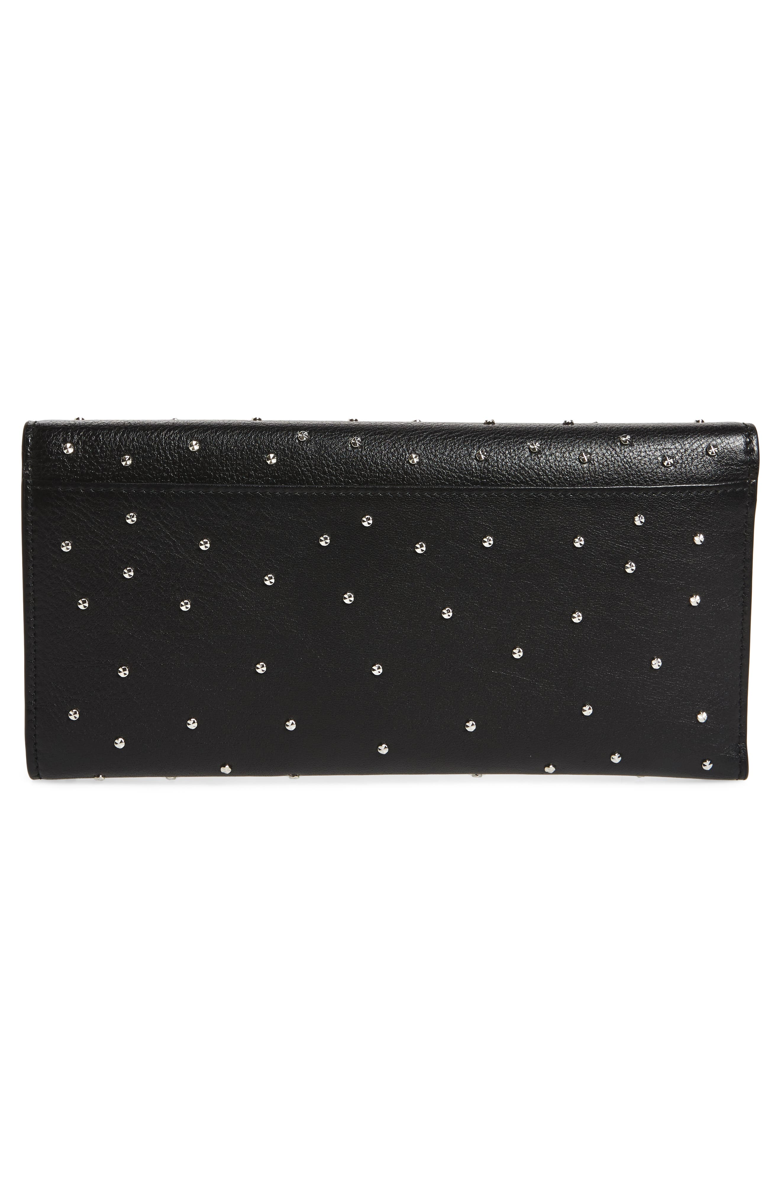 Studded Leather Travel Wallet,                             Alternate thumbnail 3, color,                             BLACK