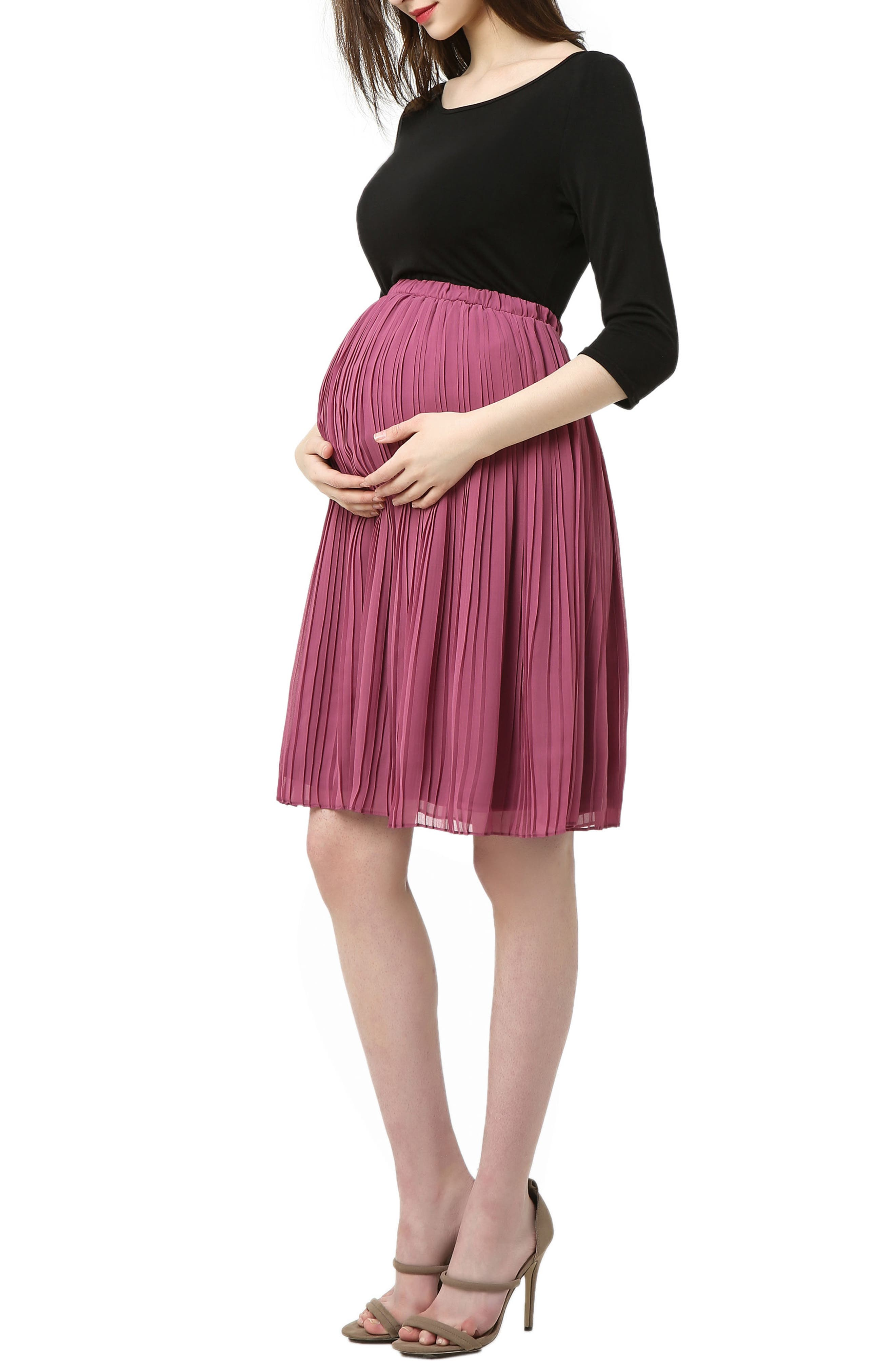 Marie Colorblock Pleat Skirt Maternity Dress,                             Alternate thumbnail 3, color,                             BLACK