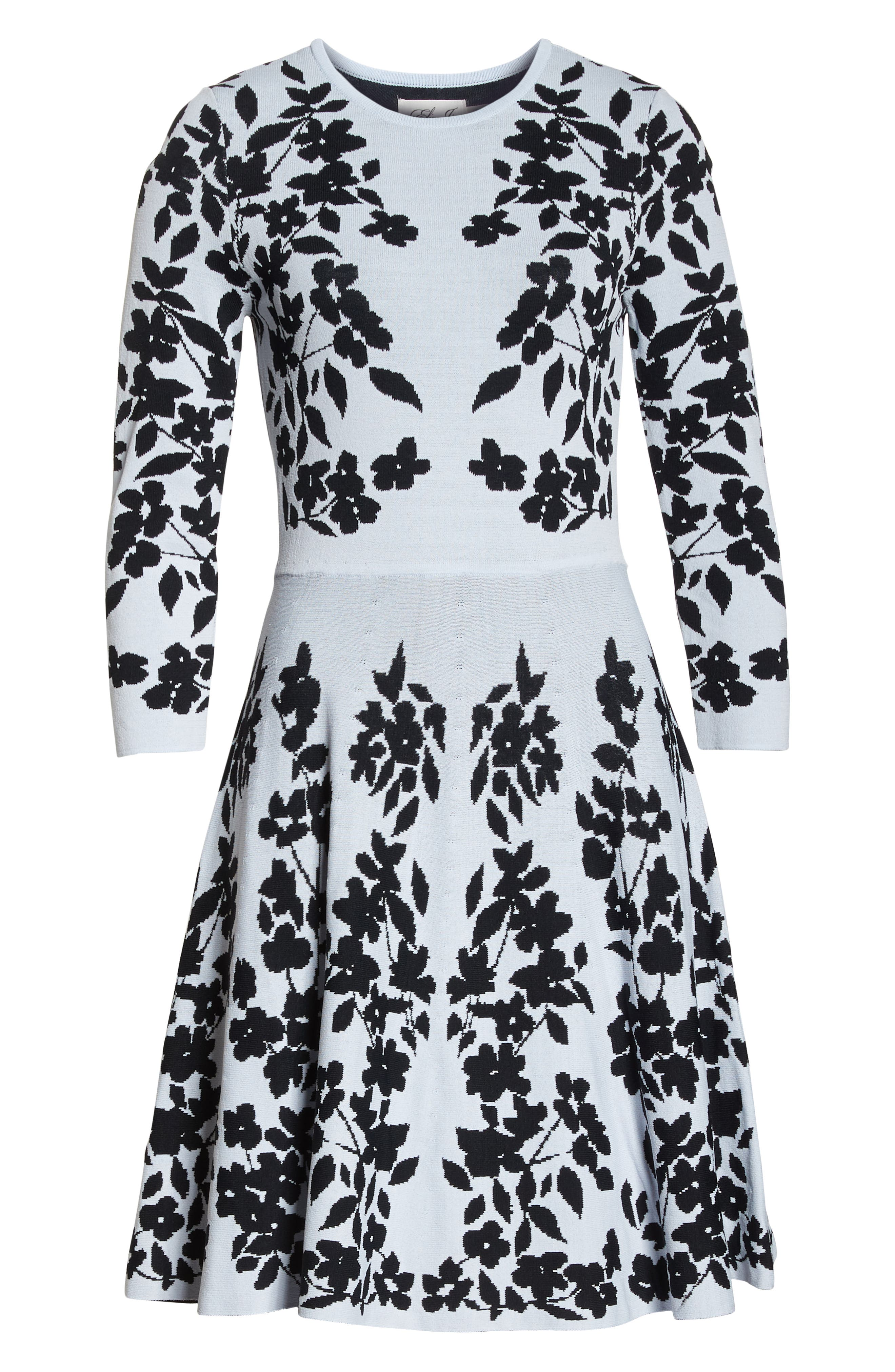 Floral Fit & Flare Sweater Dress,                             Alternate thumbnail 7, color,                             BLUE