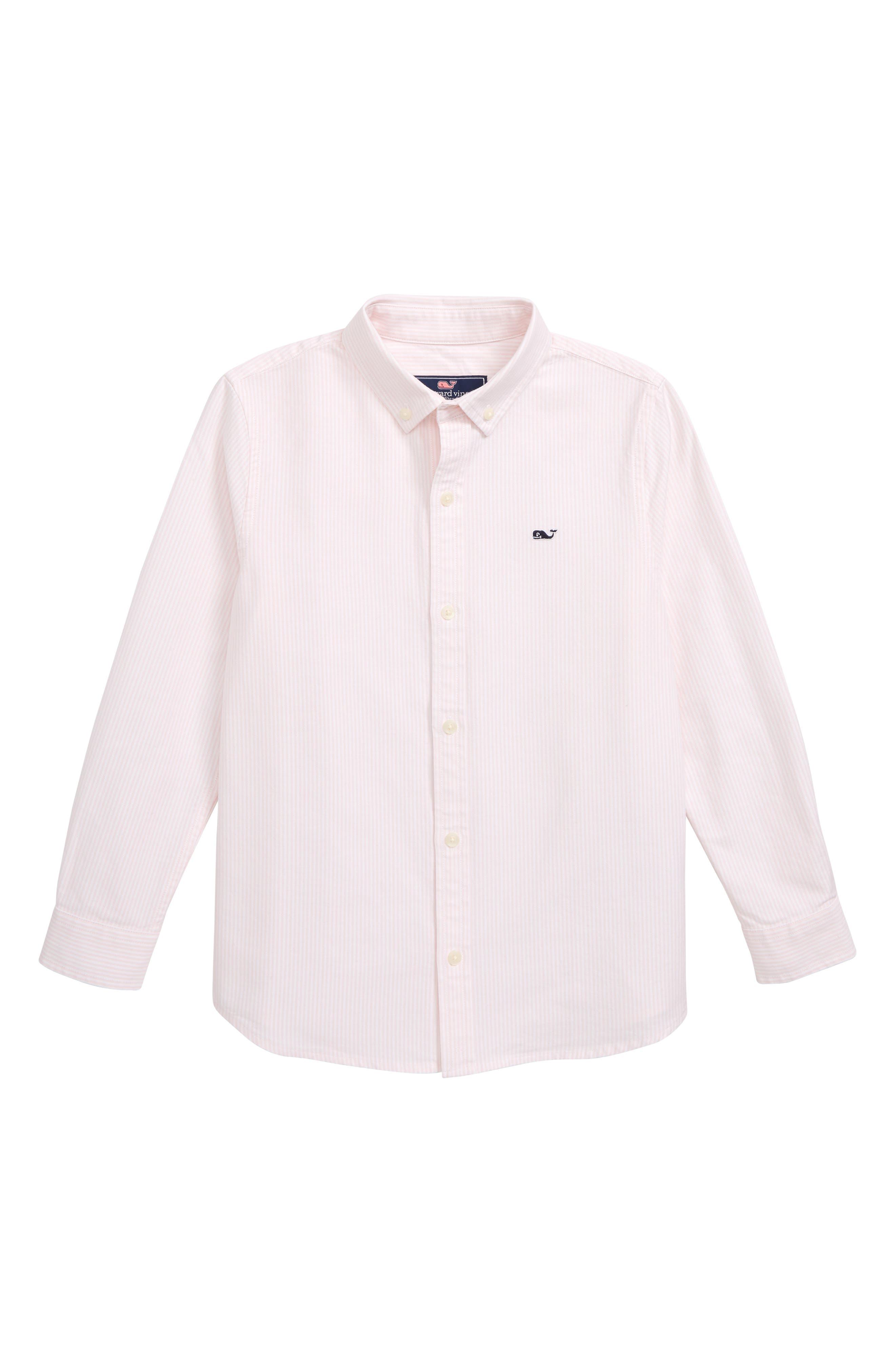 Fine Line Stripe Oxford Shirt,                             Main thumbnail 1, color,                             FLAMINGO