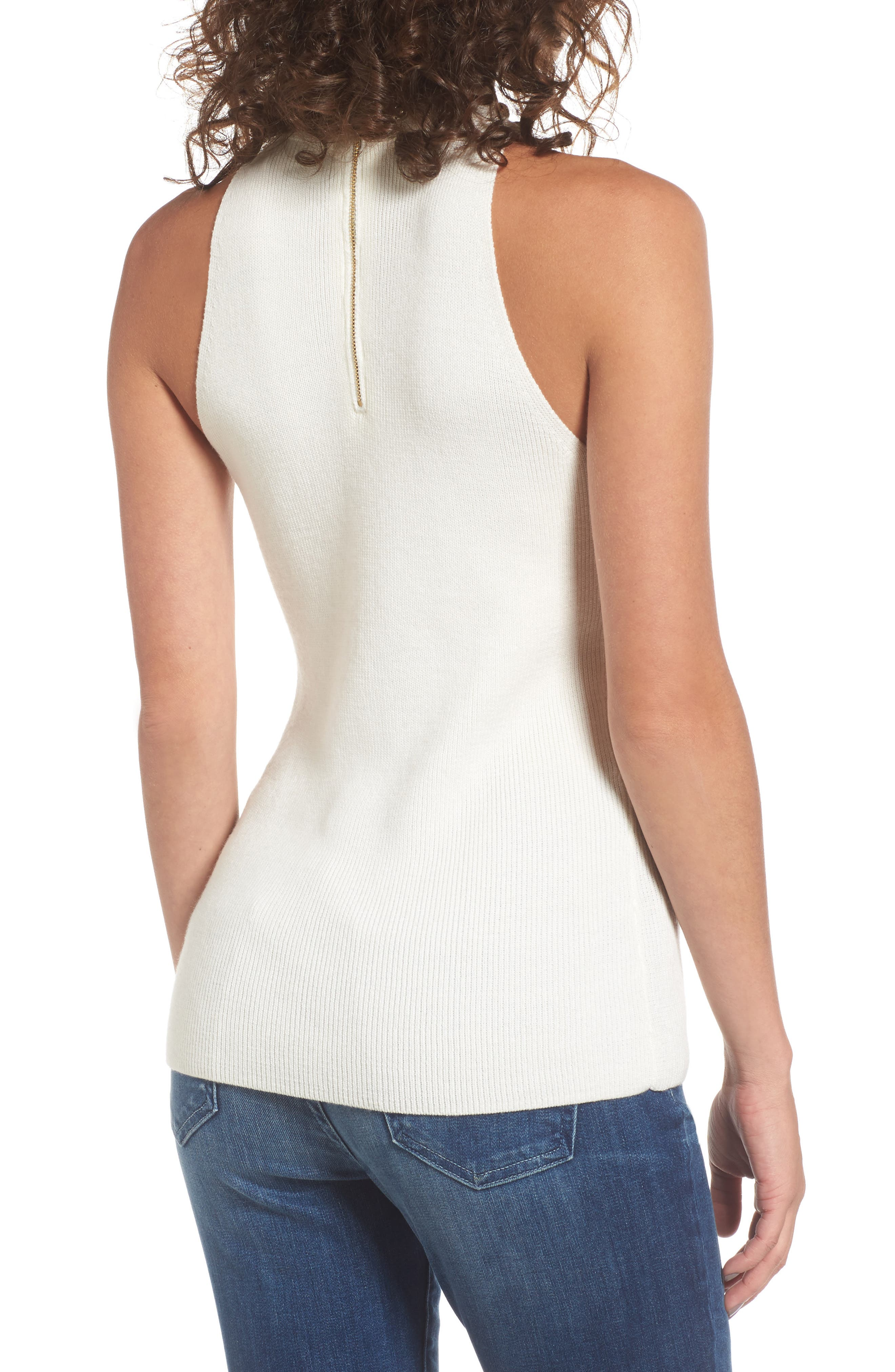 Dome Stud Mock Neck Top,                             Alternate thumbnail 4, color,