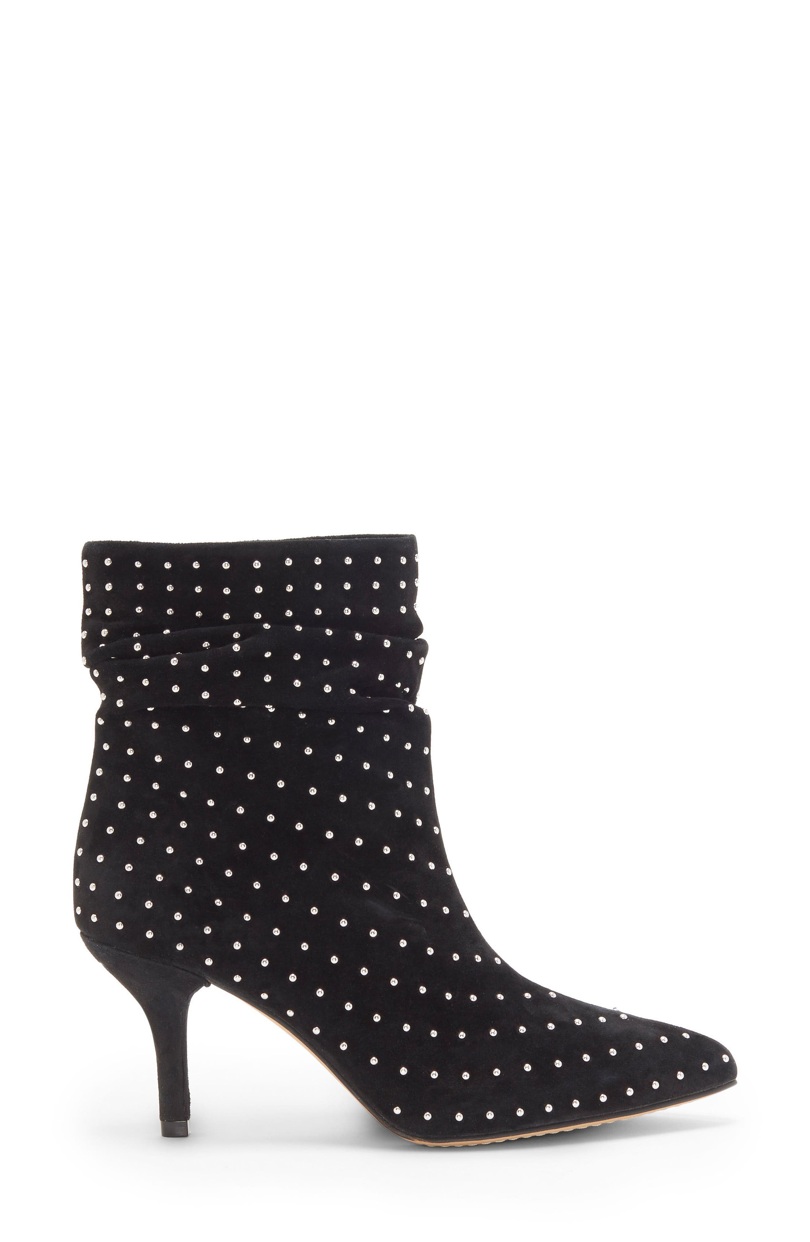 Abriannie Studded Slouchy Bootie,                             Alternate thumbnail 3, color,                             BLACK SUEDE