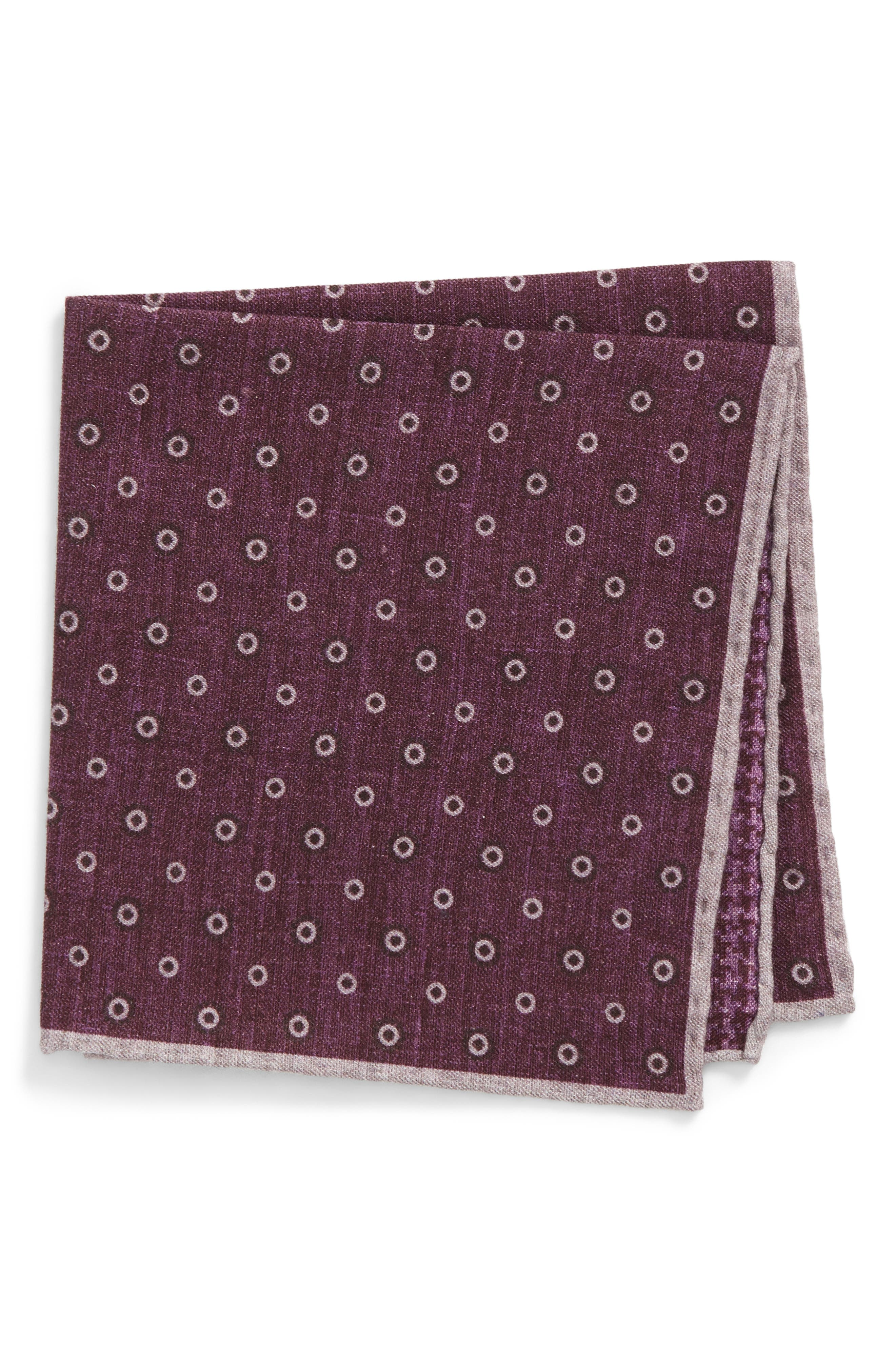 Medallion Wool & Cotton Pocket Square,                             Main thumbnail 3, color,