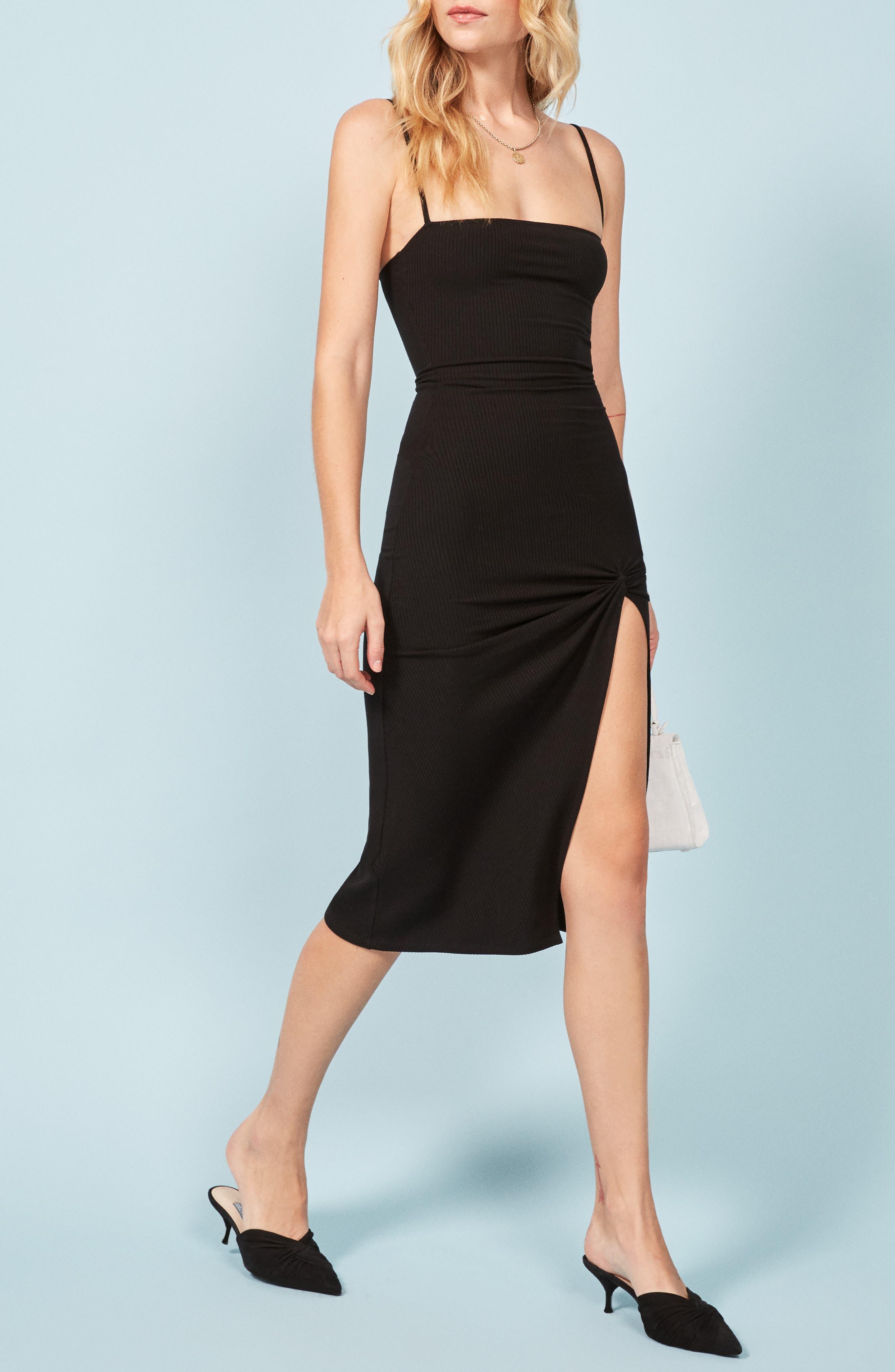 Scala Ribbed Body-Con Midi Dress,                             Alternate thumbnail 4, color,                             BLACK