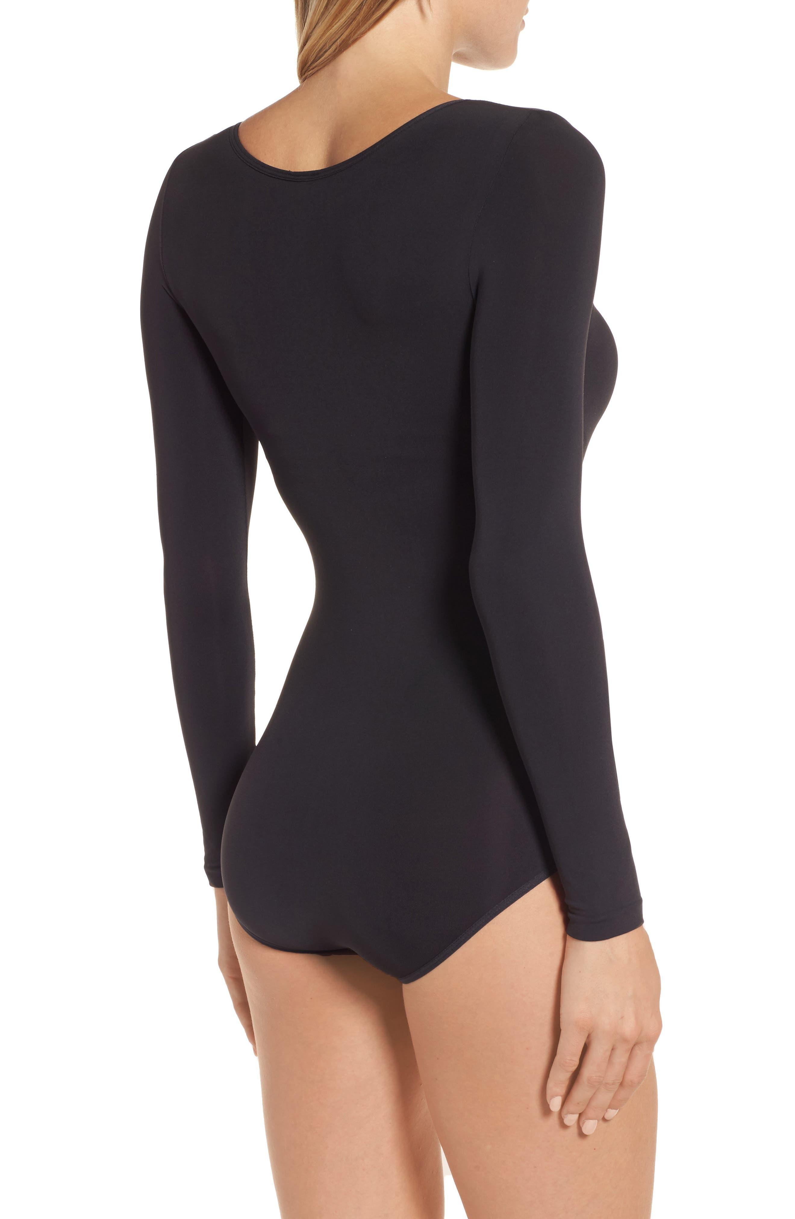 Opaque Bodysuit,                             Alternate thumbnail 2, color,                             BLACK