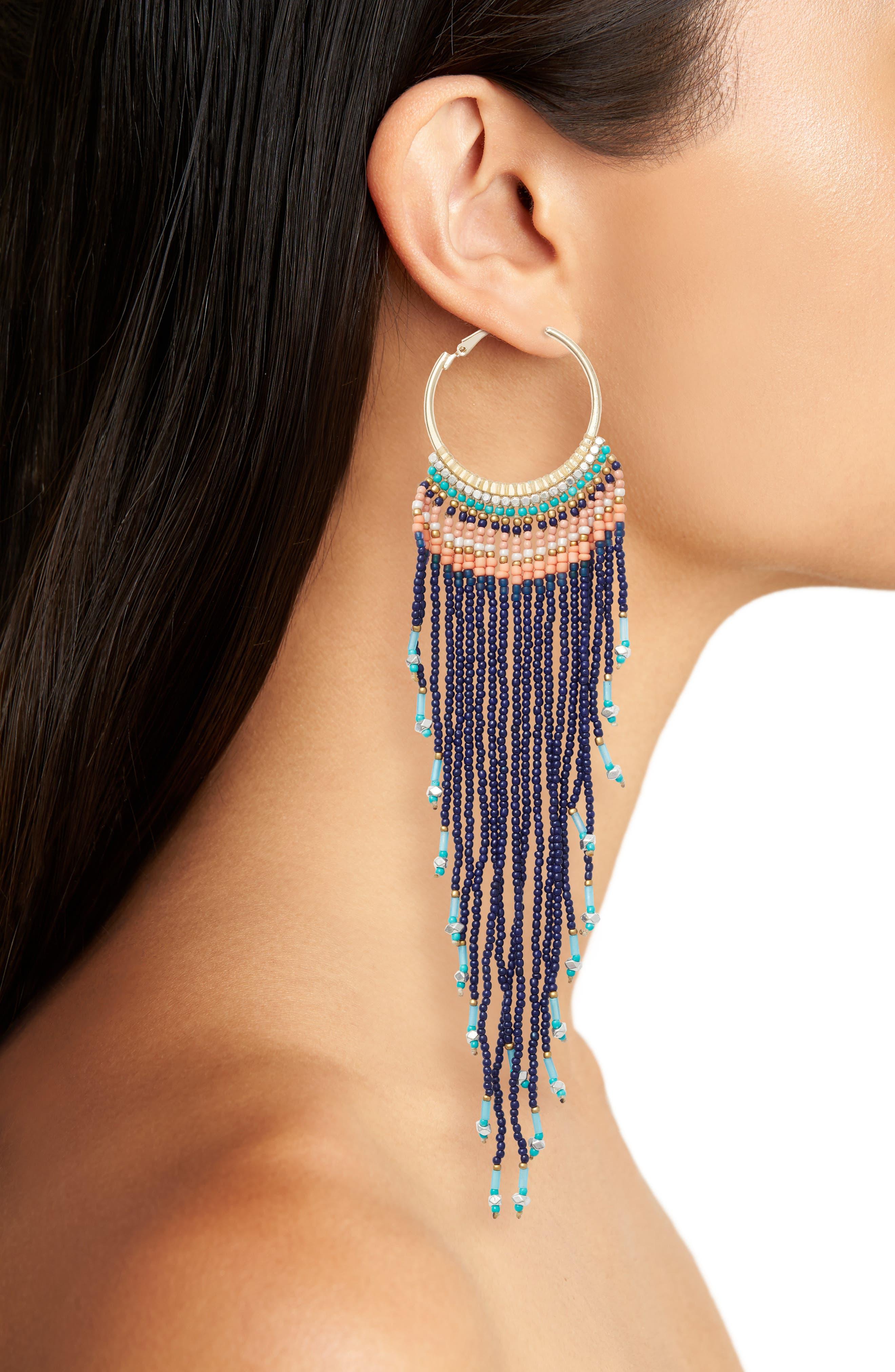 Aban Beaded Tassel Hoop Earrings,                             Alternate thumbnail 2, color,                             400