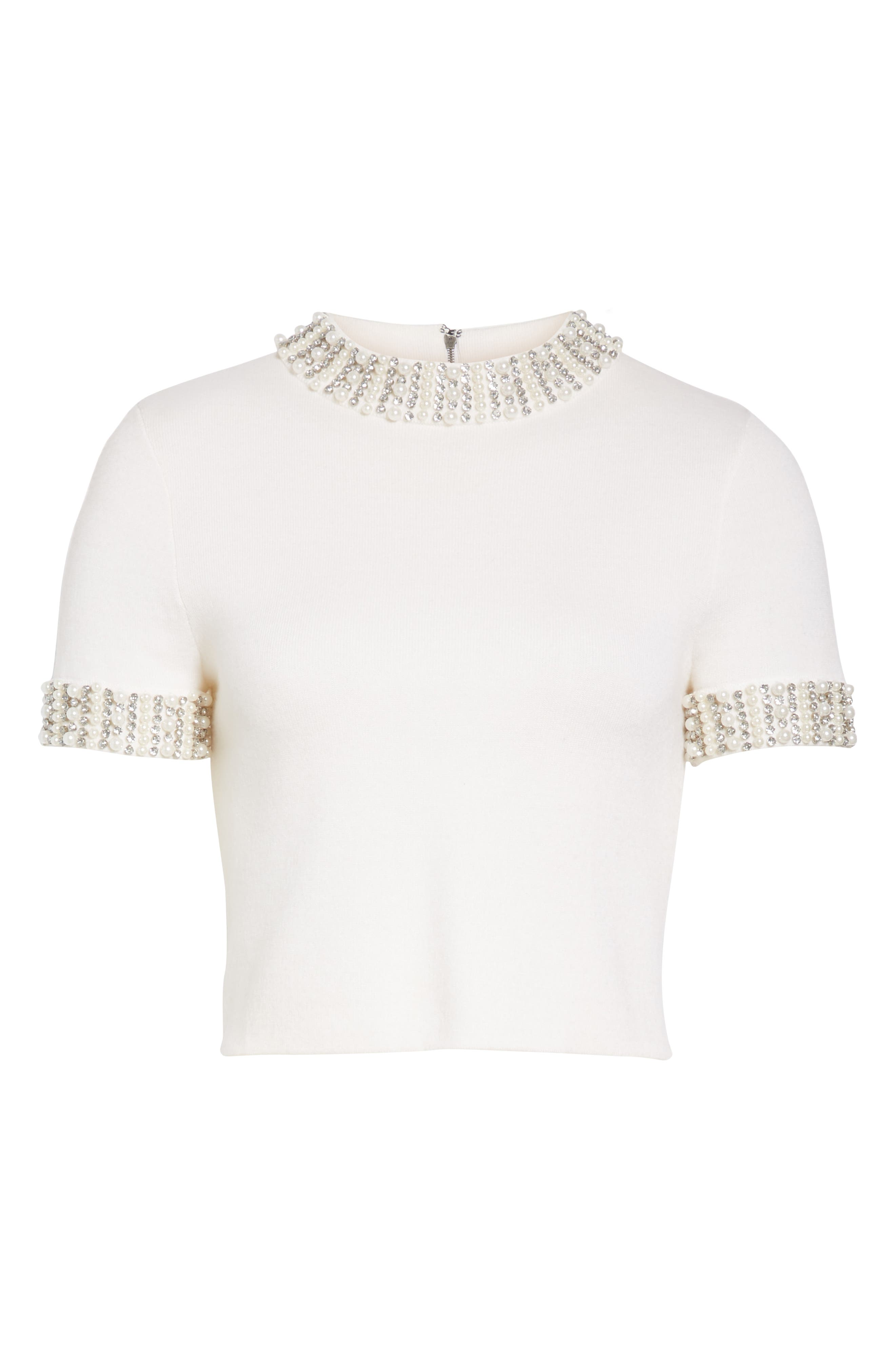 Embellished Crop Sweater,                             Alternate thumbnail 6, color,                             SOFT WHITE