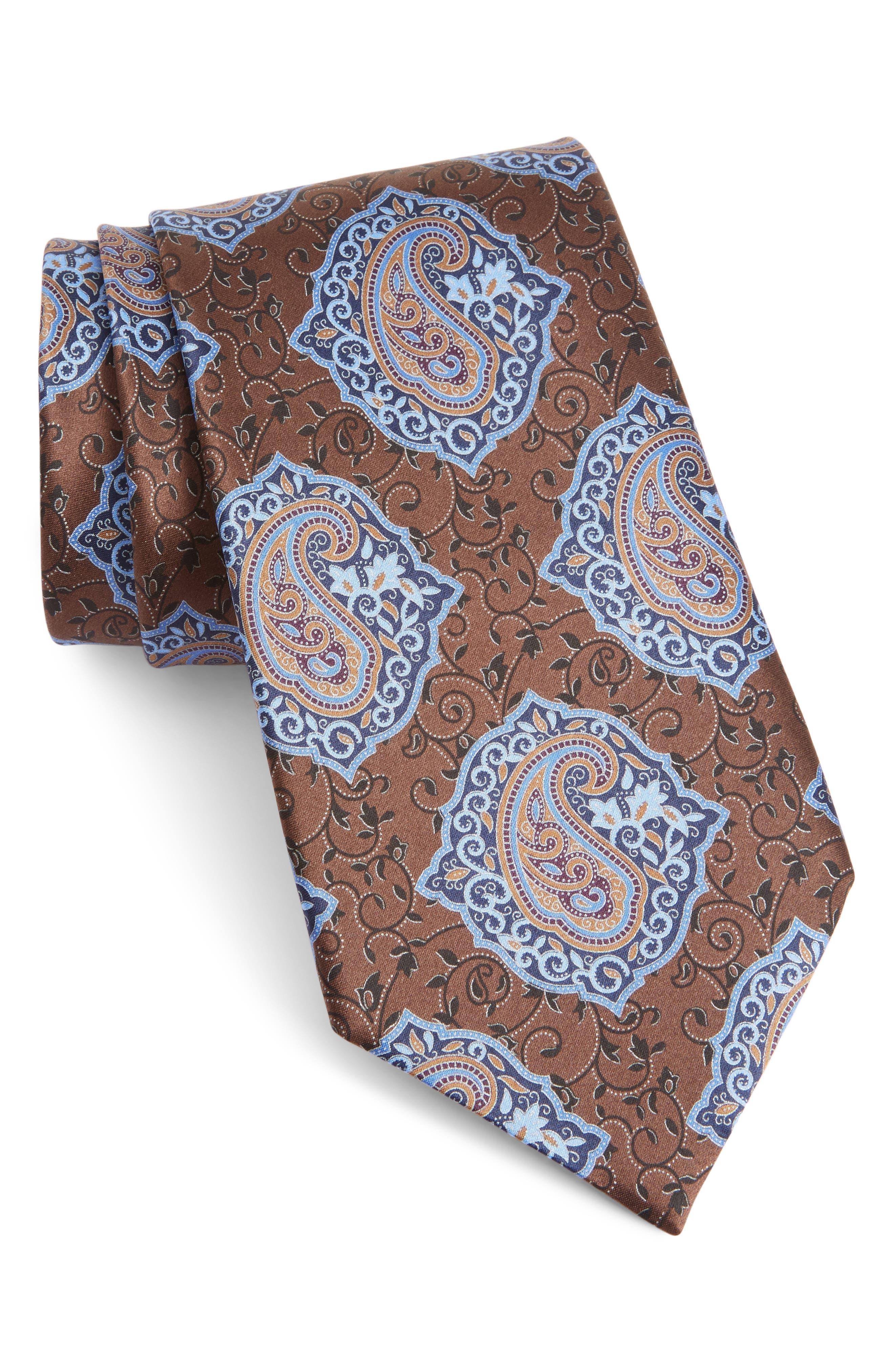 Paisley Silk Tie,                             Main thumbnail 1, color,                             BROWN