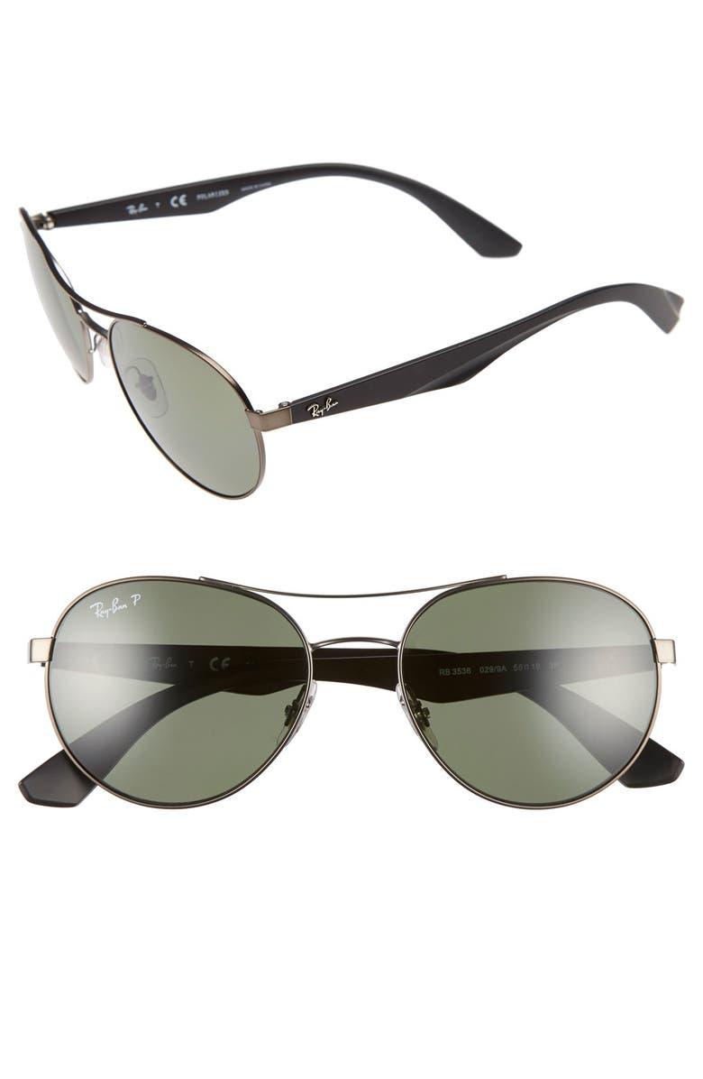 a6389278385 Ray-Ban Highstreet 55mm Aviator Polarized Sunglasses