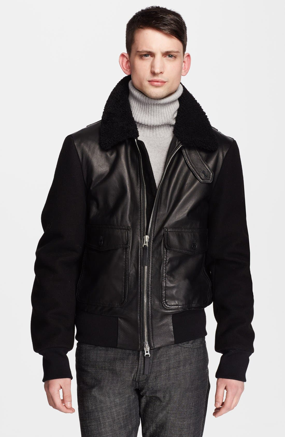 Genuine Shearling Collar Leather Jacket with Wool Sleeves,                             Main thumbnail 1, color,                             001