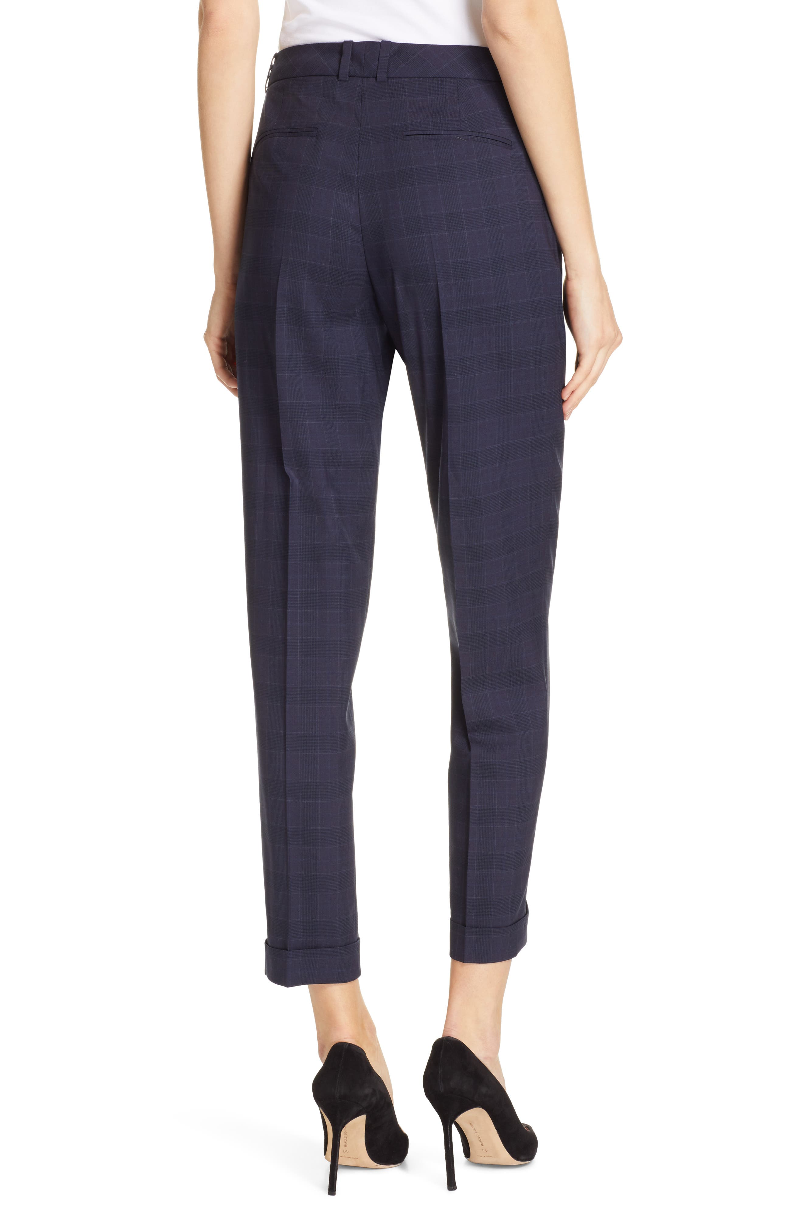 Tocanes Modern Check Wool Ankle Trousers,                             Alternate thumbnail 2, color,                             DARK NAVY FANTASY