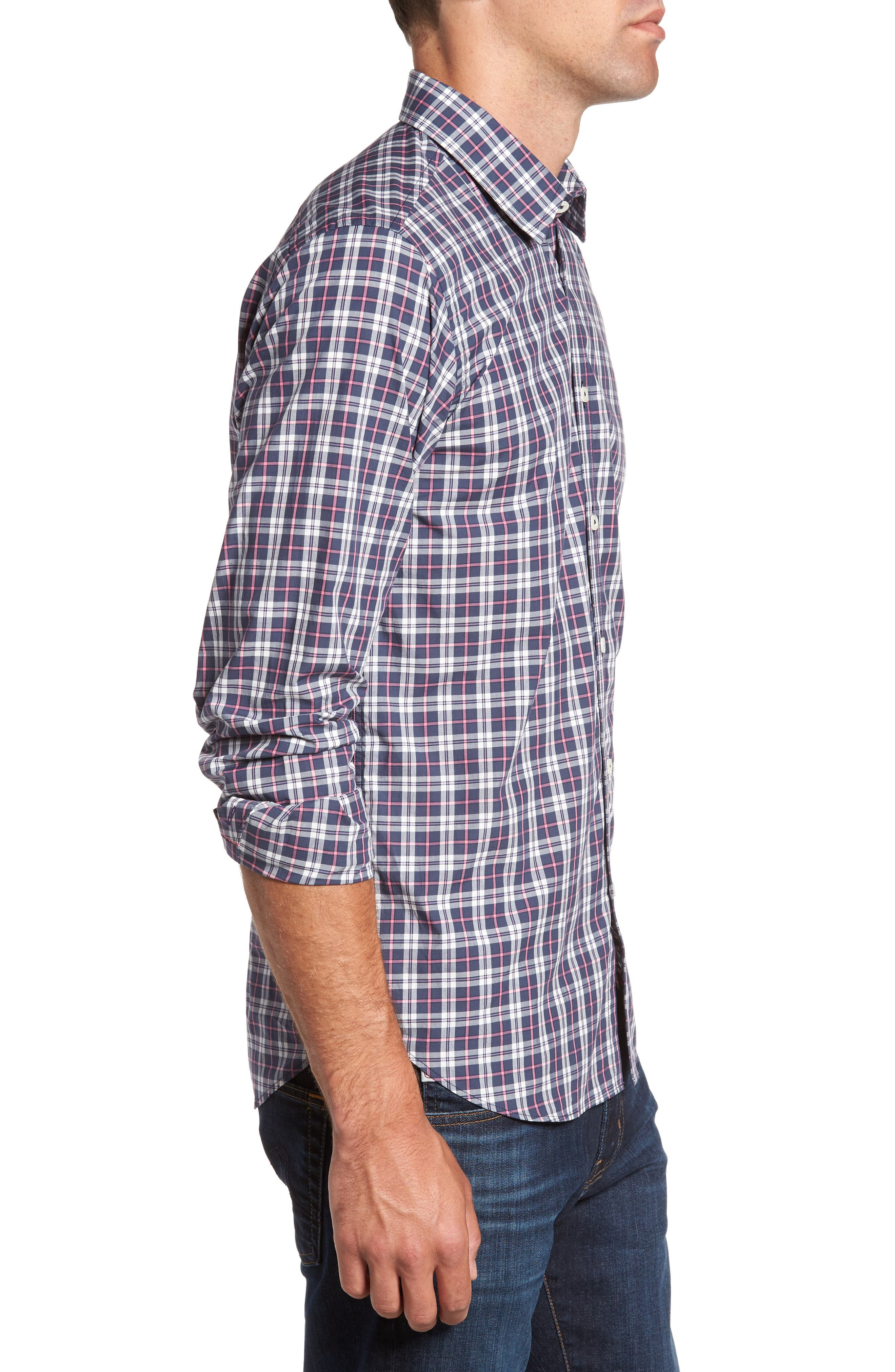 Slim Fit Plaid Sport Shirt,                             Alternate thumbnail 3, color,                             024