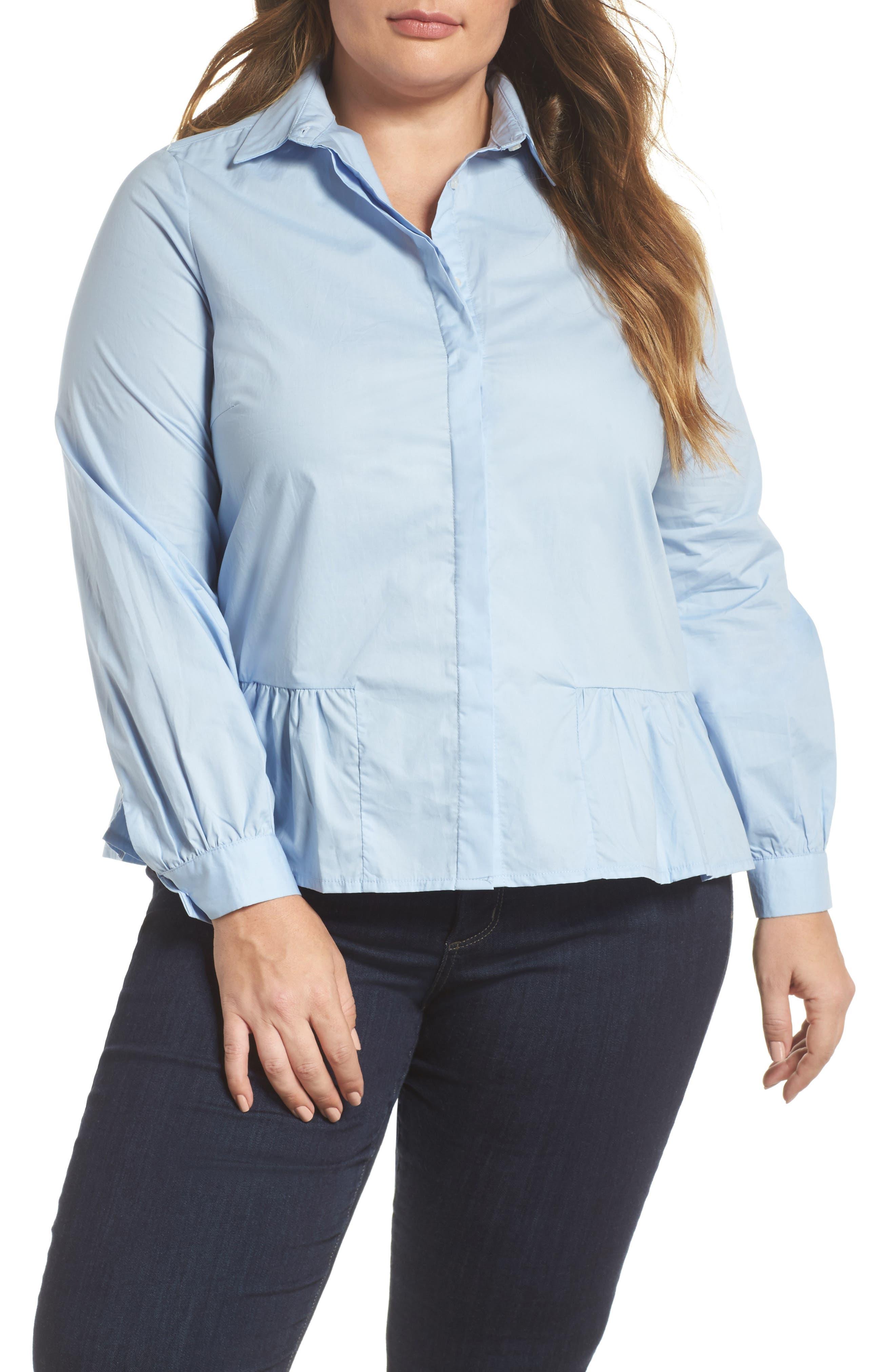Peplum Hem Shirt,                         Main,                         color, 400