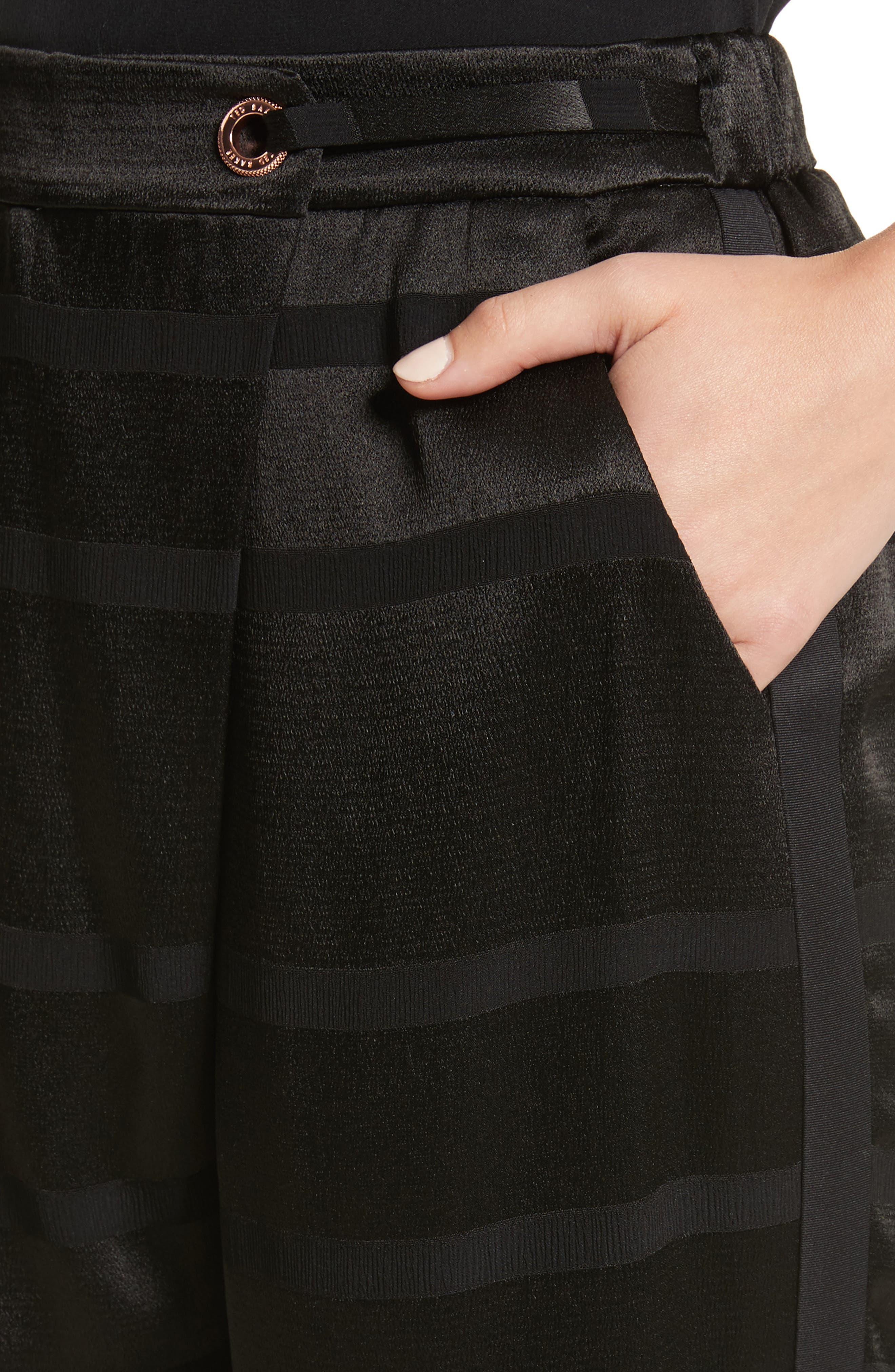 Steller Stripe Wrap Front Pants,                             Alternate thumbnail 4, color,                             001