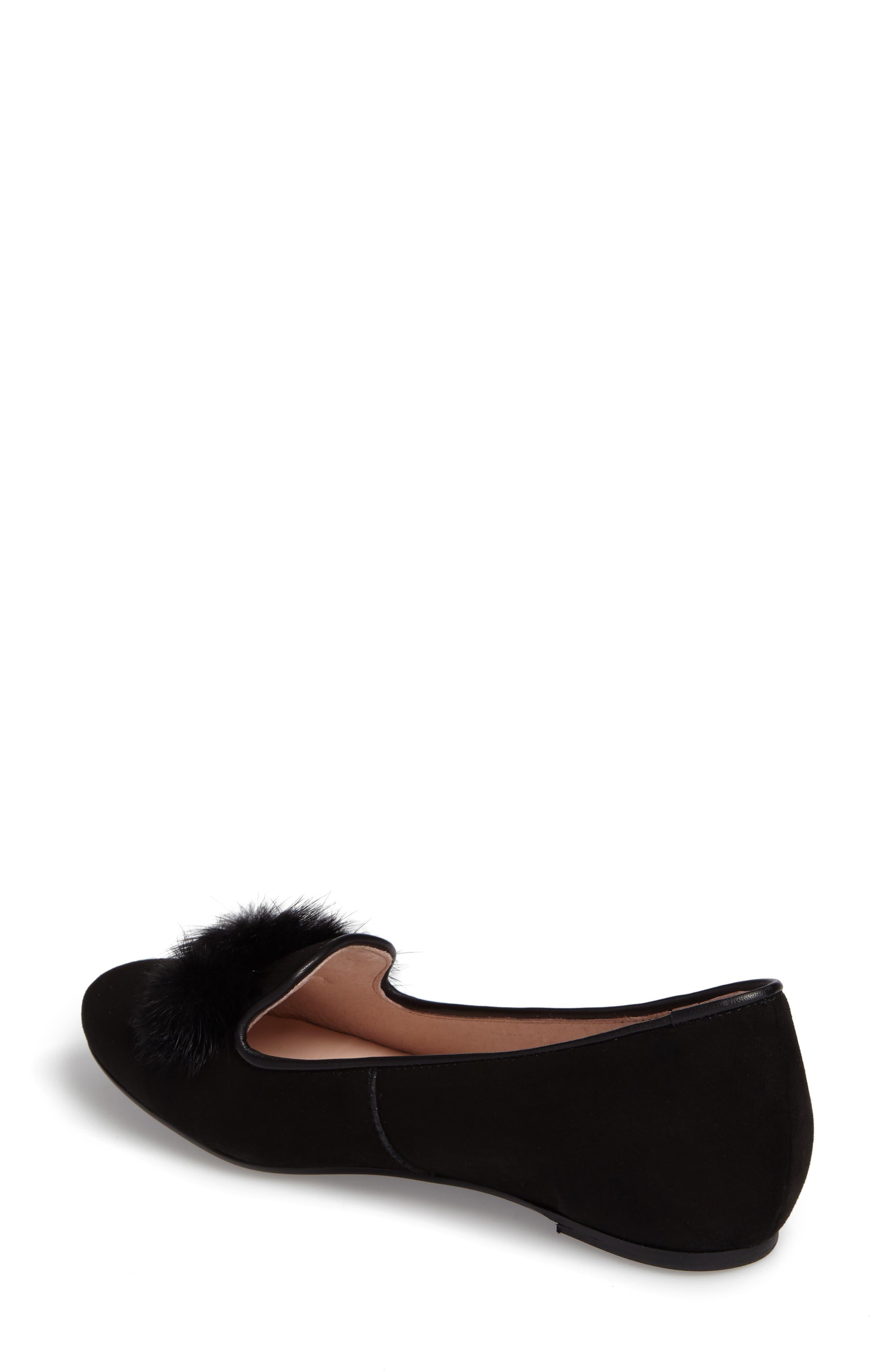 Wallis Genuine Fur Pompom Loafer,                             Alternate thumbnail 2, color,                             001