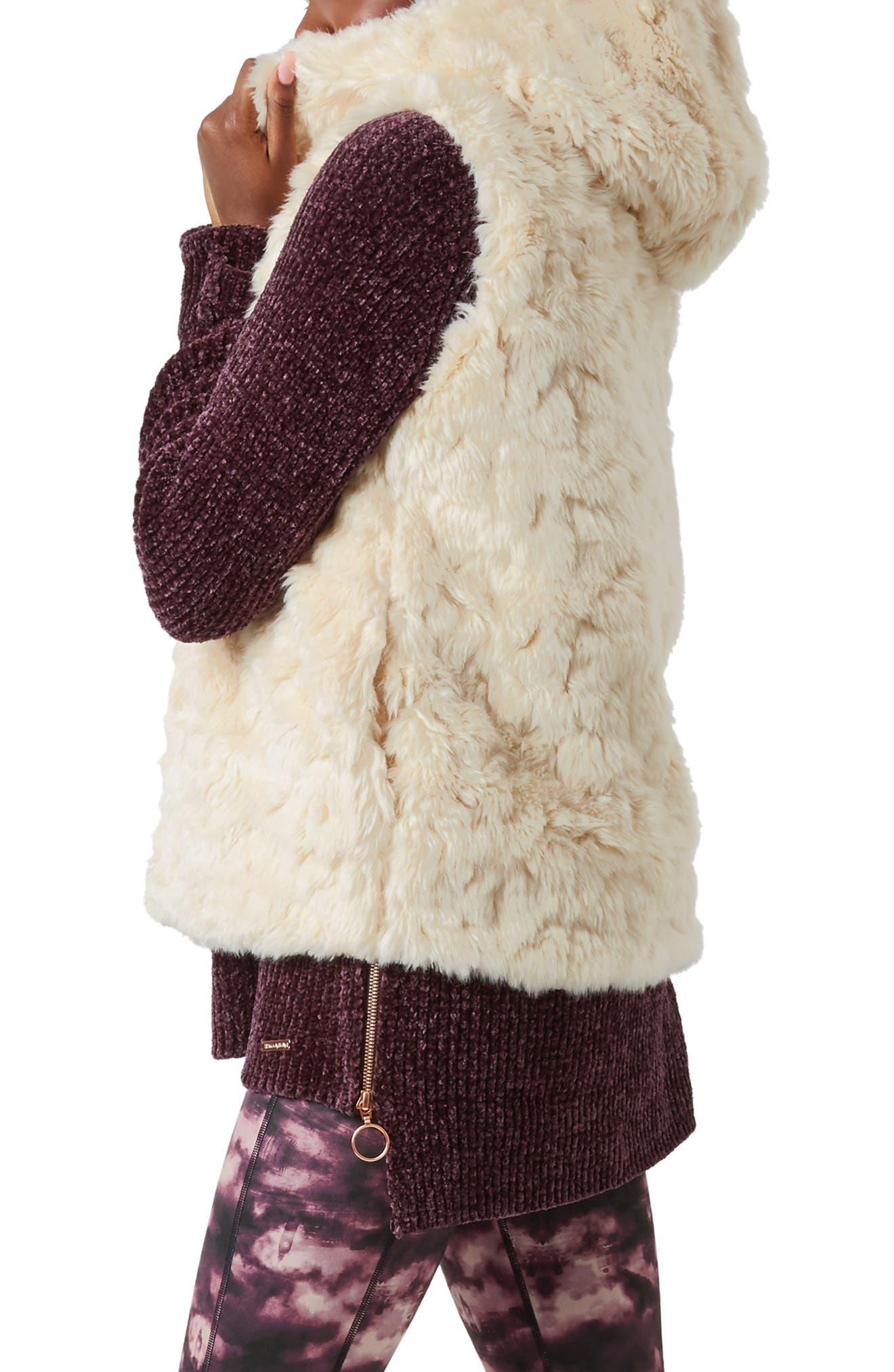 Faux Fur Hooded Vest,                             Alternate thumbnail 3, color,                             OATMEAL