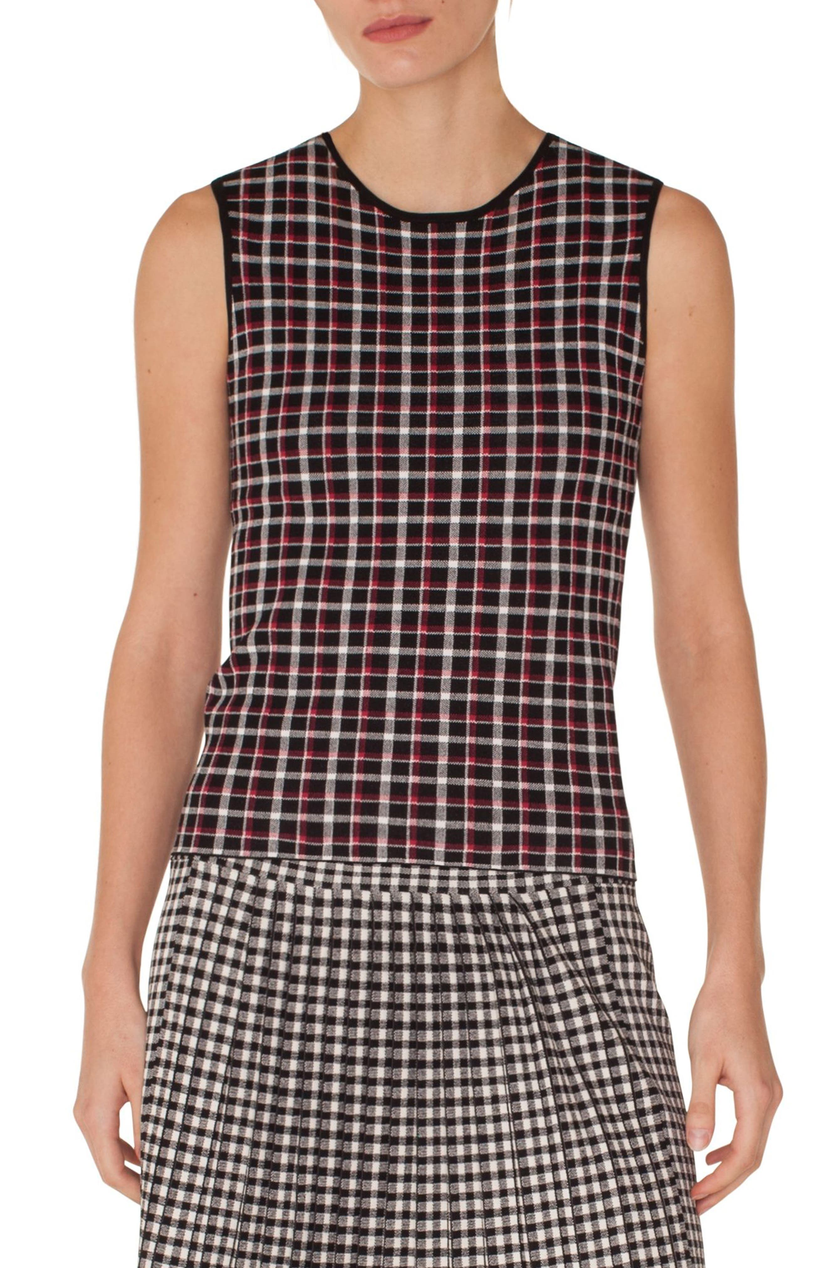AKRIS PUNTO Sleeveless Round-Neck Glen Check Back-Zip Knit Top in Black-Lipstick-Cream