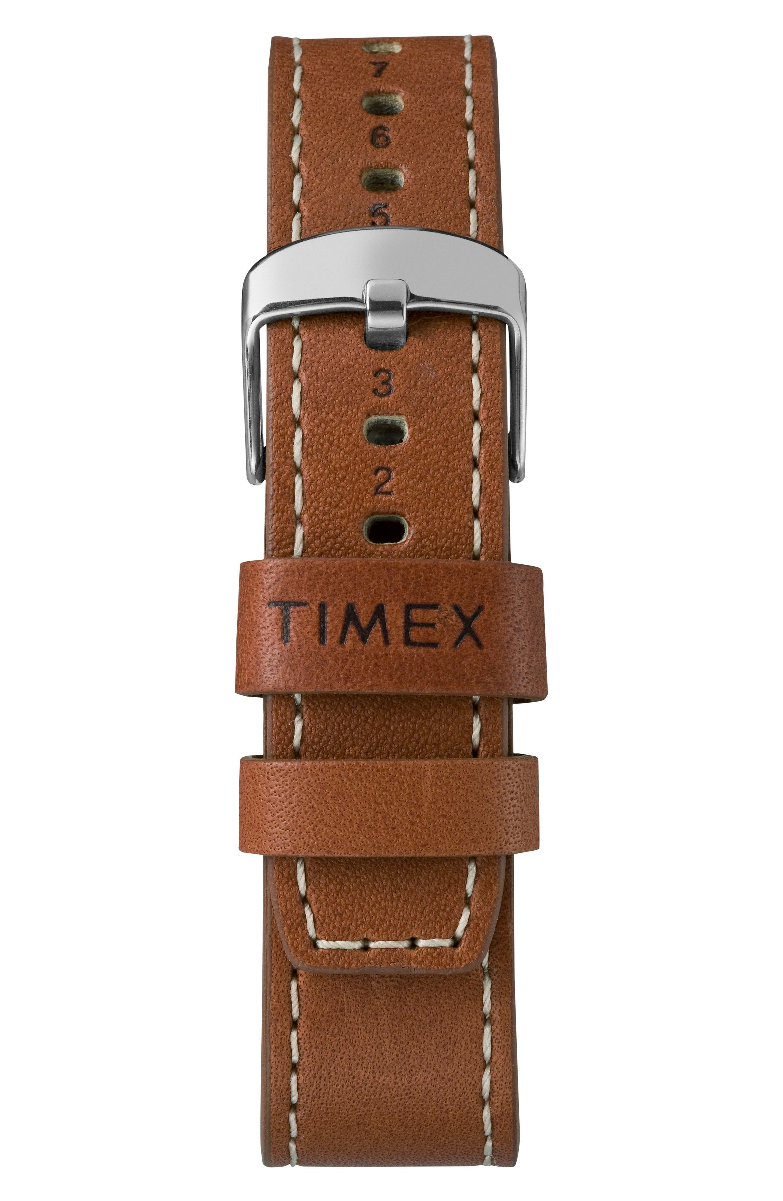 Waterbury Leather Strap Watch, 40mm,                             Alternate thumbnail 3, color,                             RUST/ BLACK/ SILVER