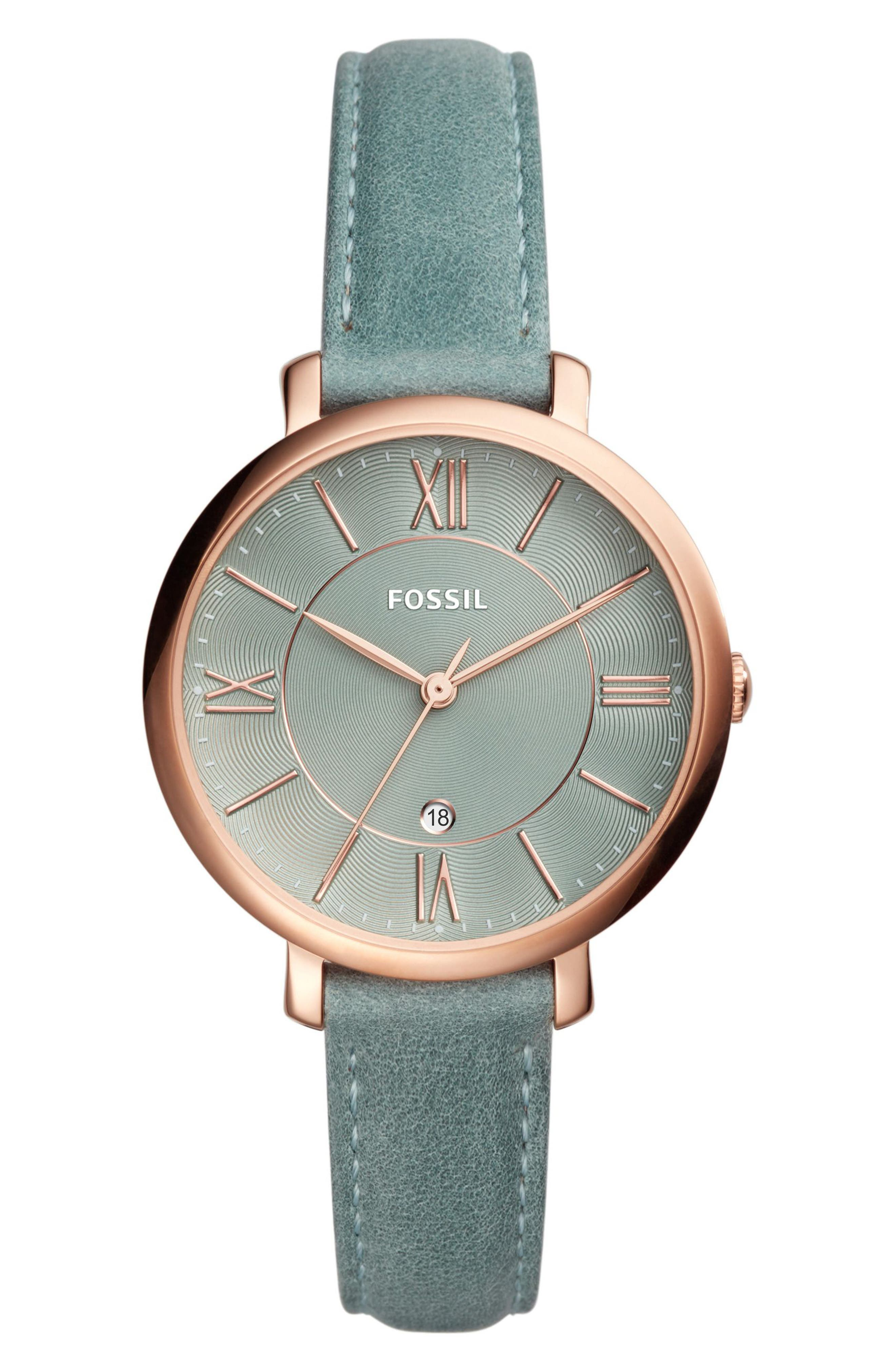 Jacqueline Leather Strap Watch, 36mm,                             Main thumbnail 6, color,