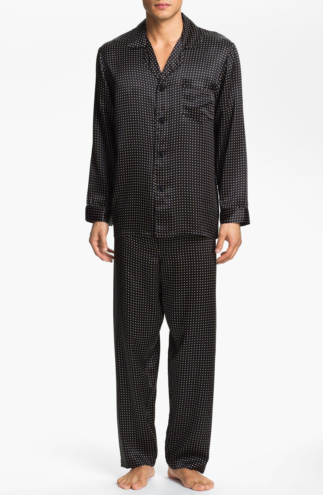 Dot Silk Pajamas,                             Main thumbnail 1, color,                             BLACK