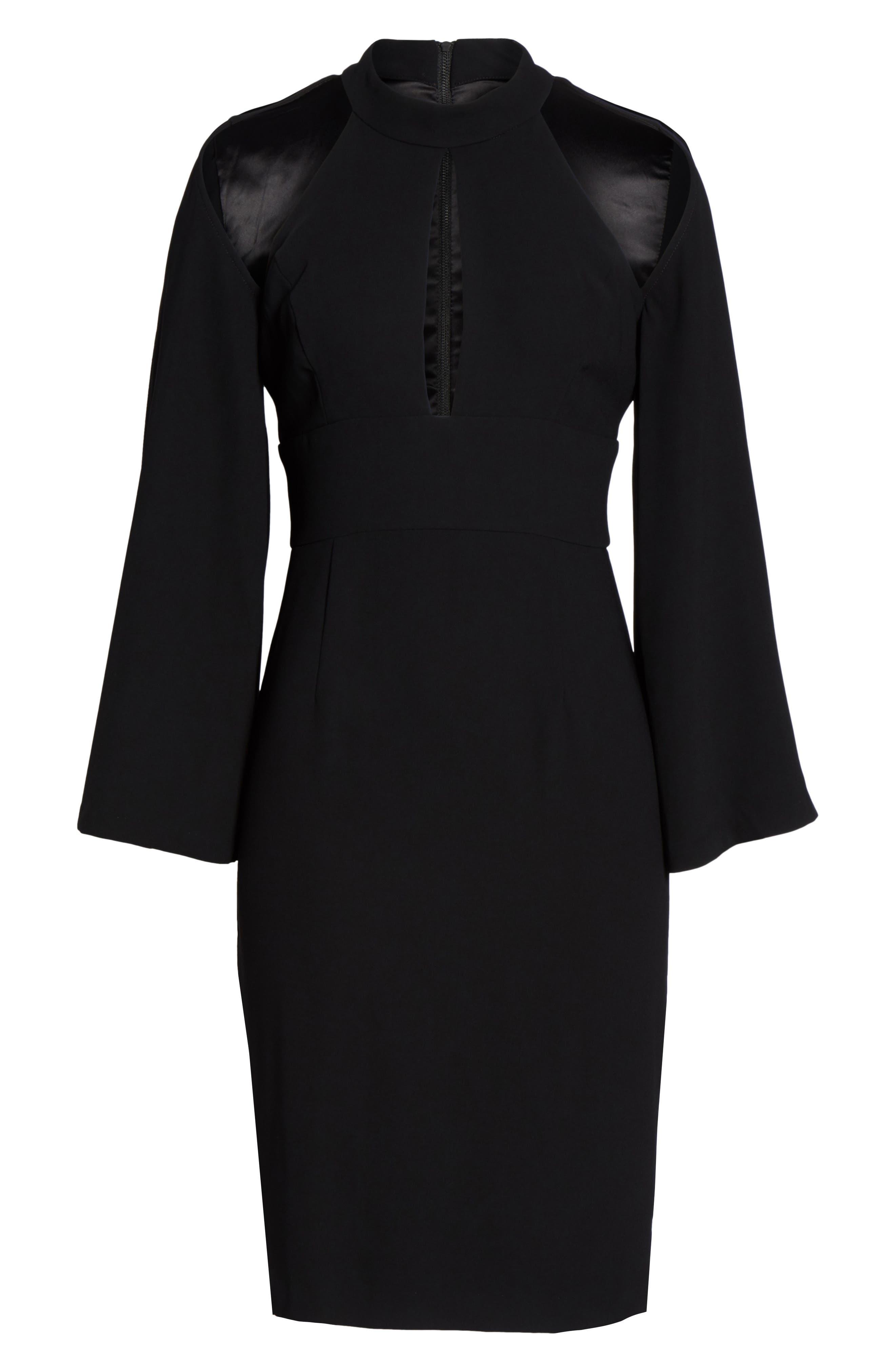 Drape Sleeve Cutout Sheath Dress,                             Alternate thumbnail 6, color,
