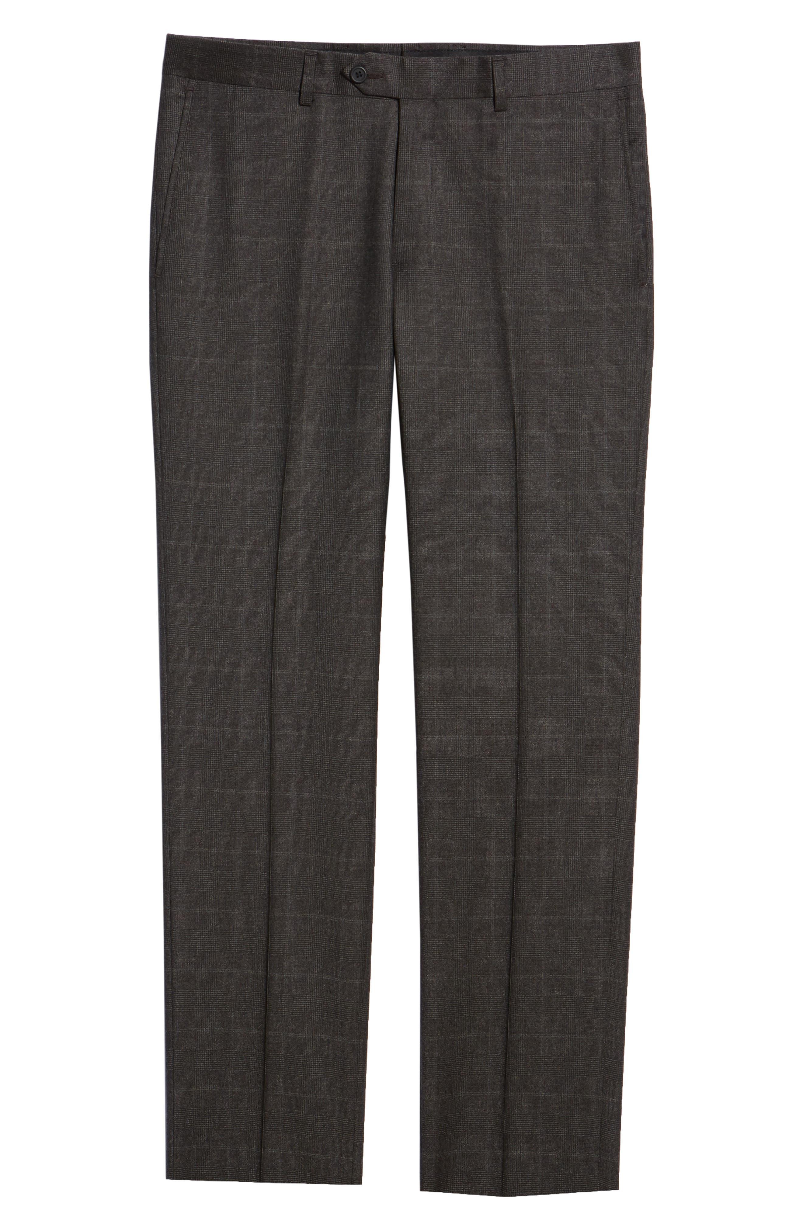 Trim Fit Flat Front Wool Trousers,                             Alternate thumbnail 6, color,                             BLACK