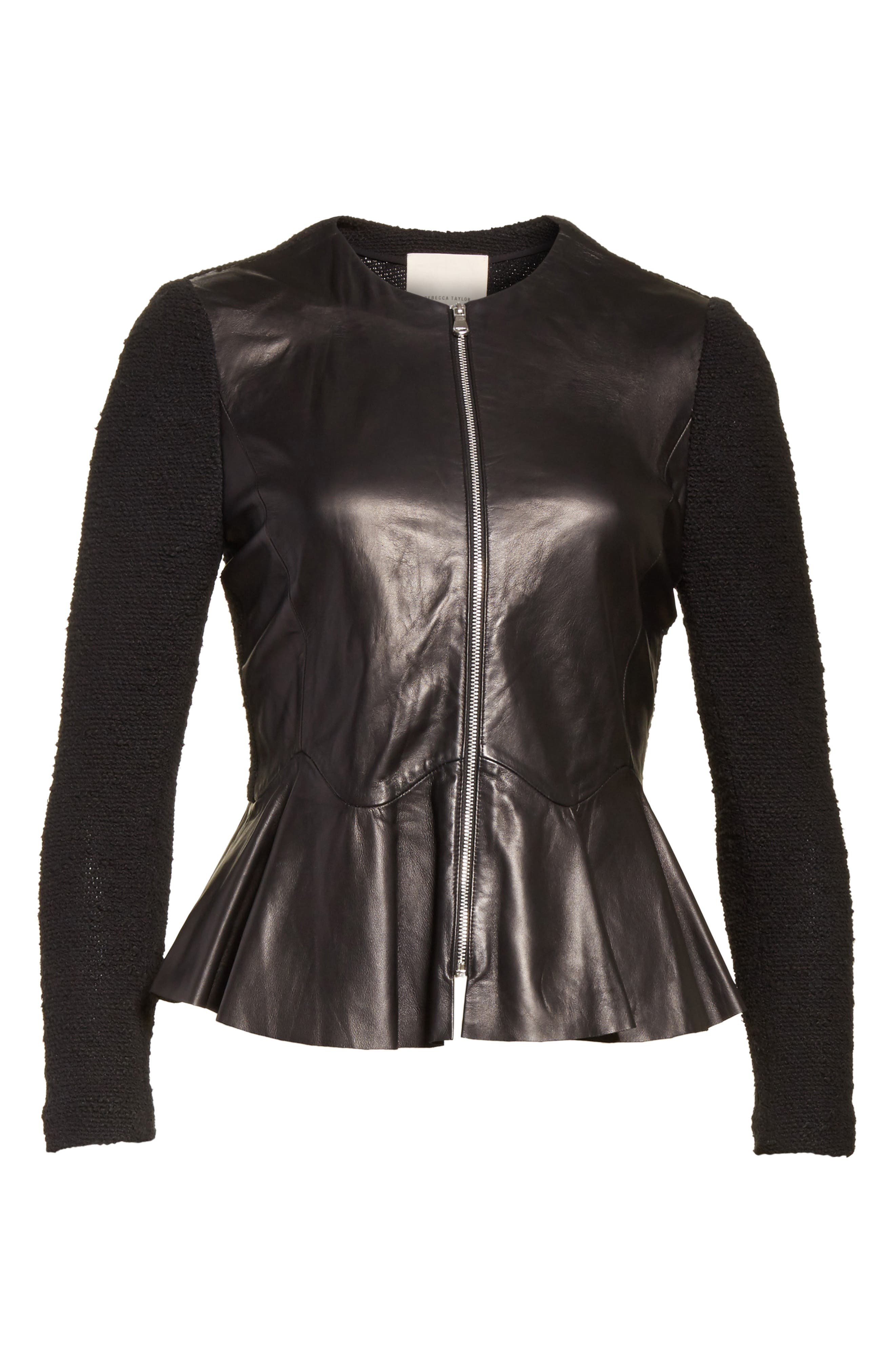 Knit & Lambskin Leather Jacket,                             Alternate thumbnail 5, color,
