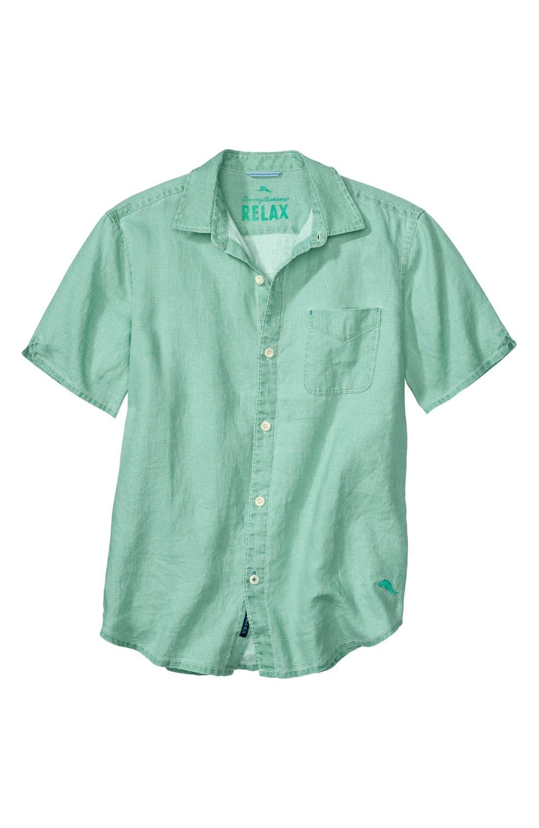 Seaglass Breezer Short Sleeve Linen Sport Shirt,                             Main thumbnail 7, color,