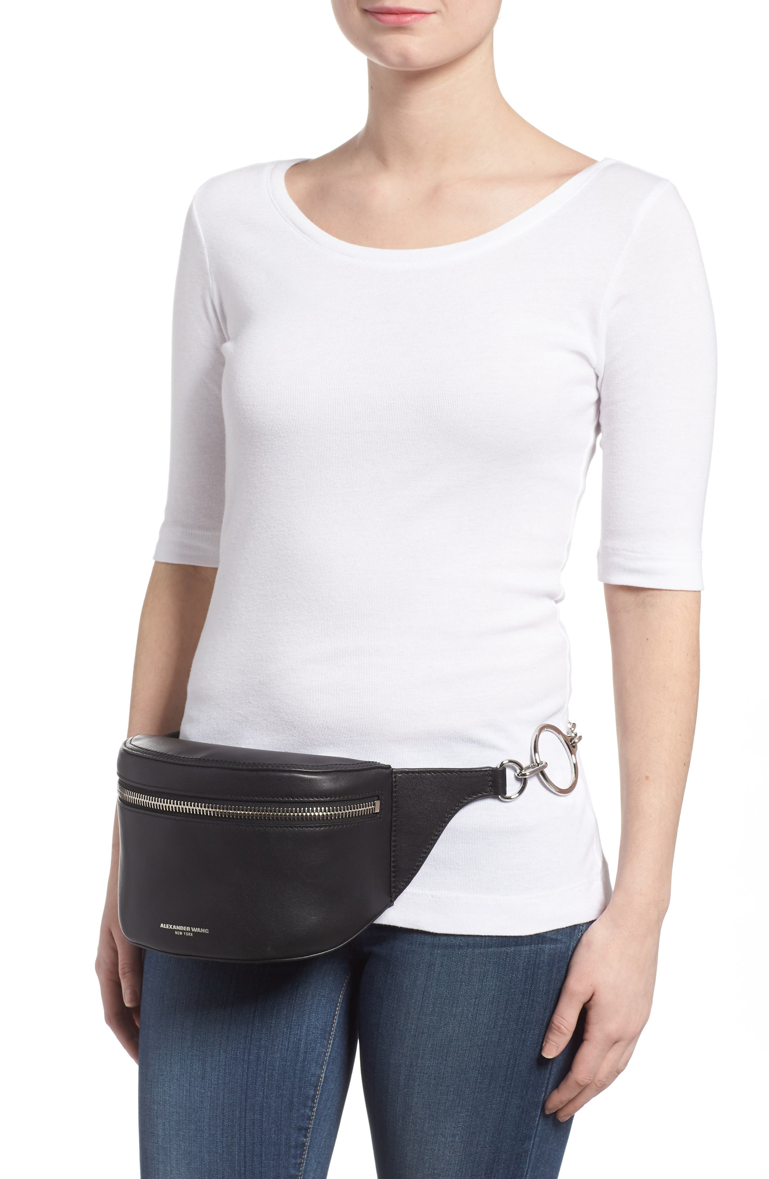 Leather Fanny Pack,                             Alternate thumbnail 2, color,                             001