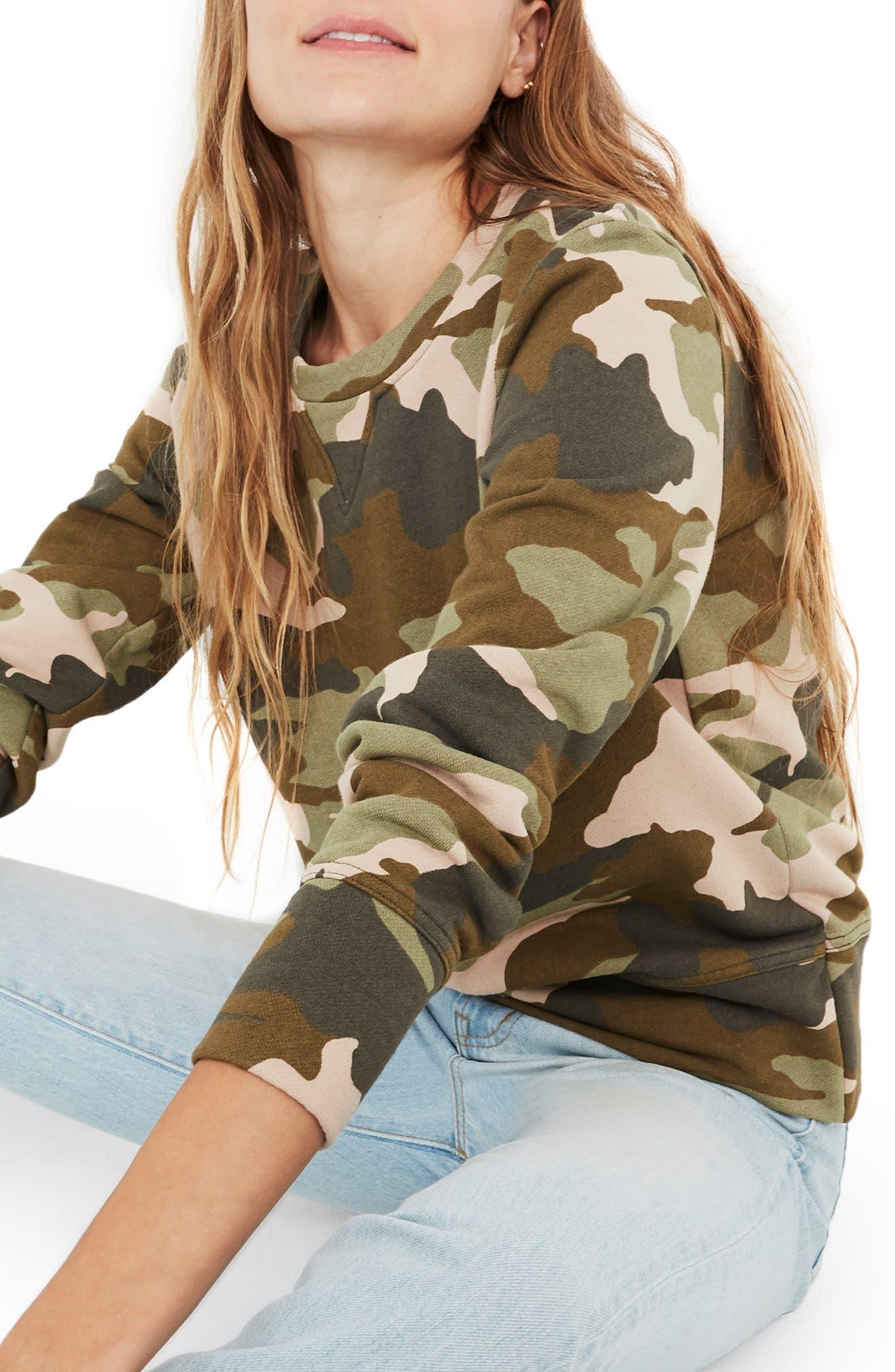 Camo Crewneck Sweatshirt,                         Main,                         color, ASPARAGUS
