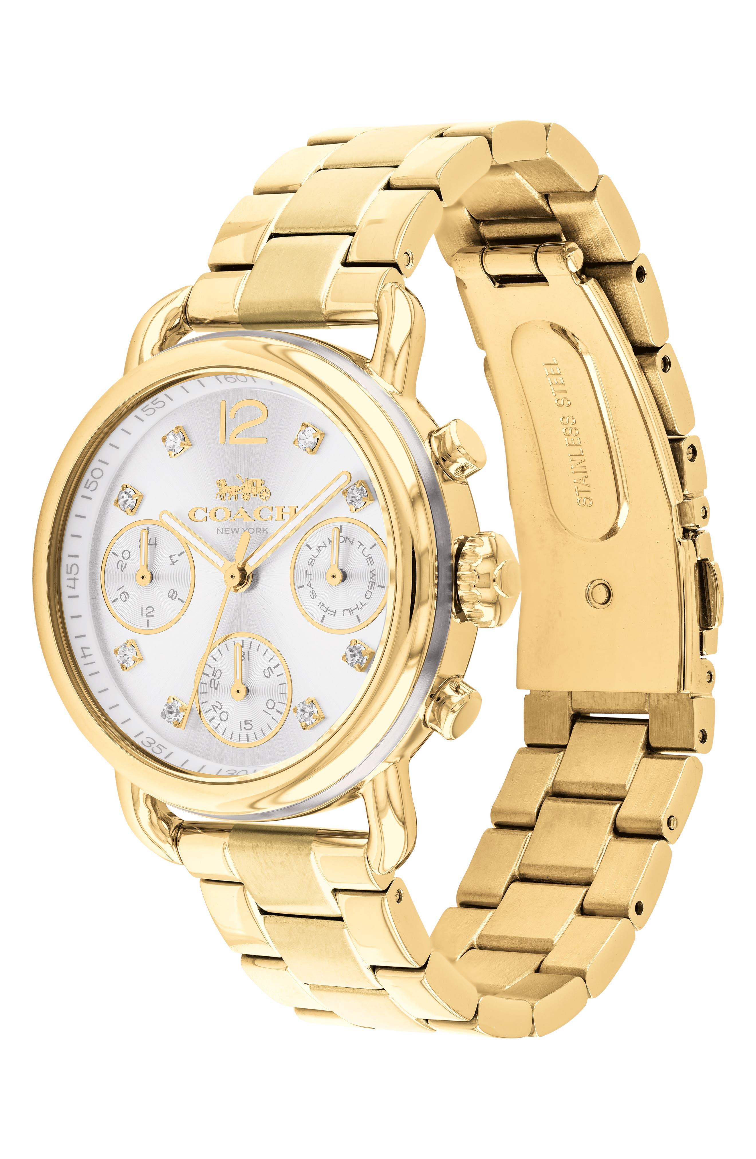Delancey Chronograph Crystal Accent Bracelet Watch, 36mm,                             Alternate thumbnail 3, color,                             GOLD