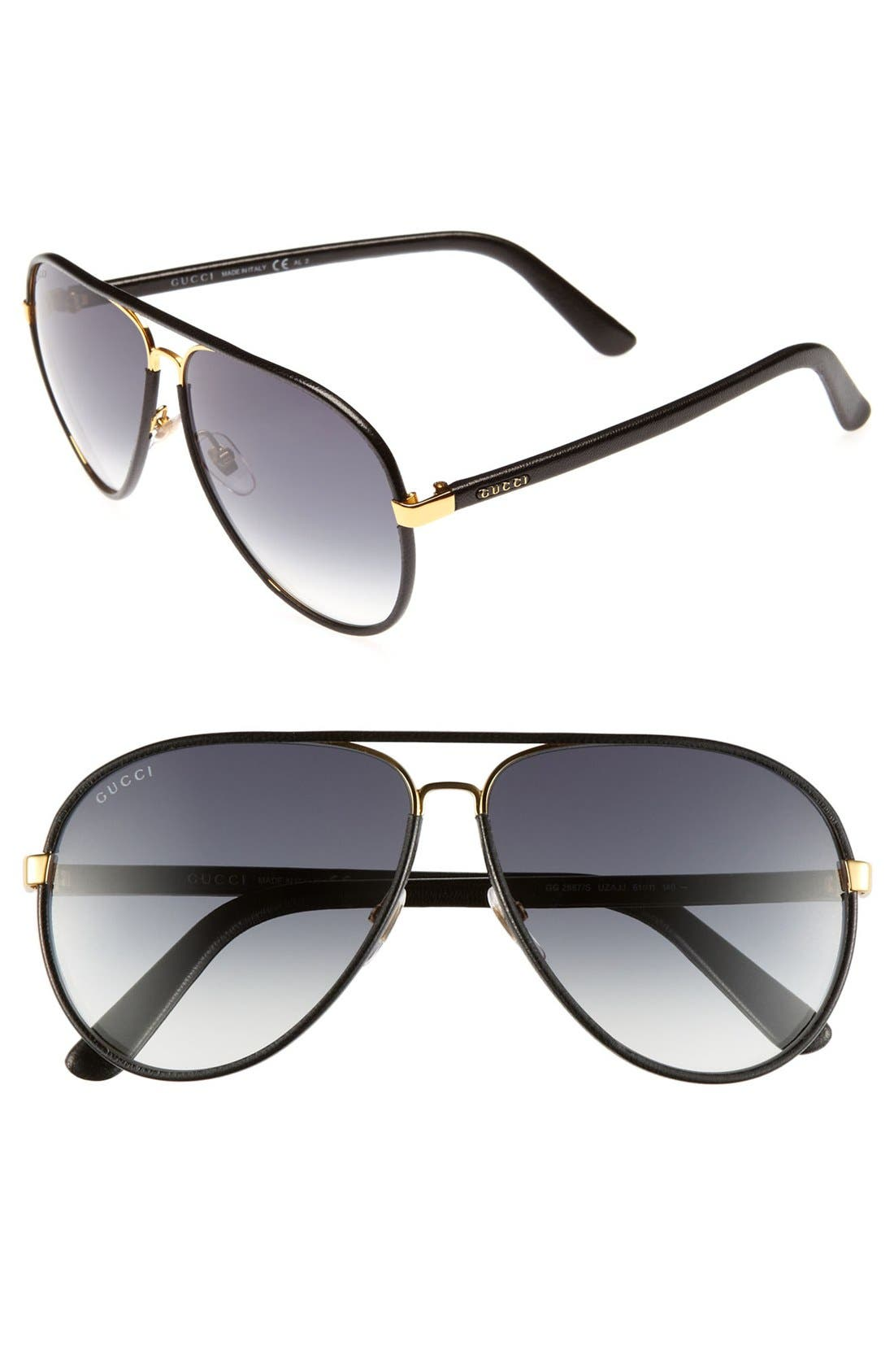 GUCCI 61mm Leather Frame Aviator Sunglasses, Main, color, 001